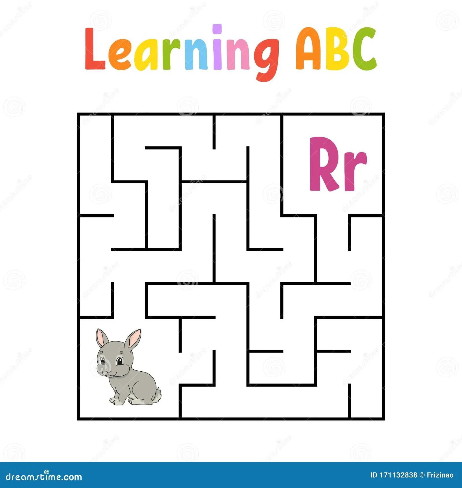 Square Maze Game For Kids Rabbit Bunny Animal Quadrate