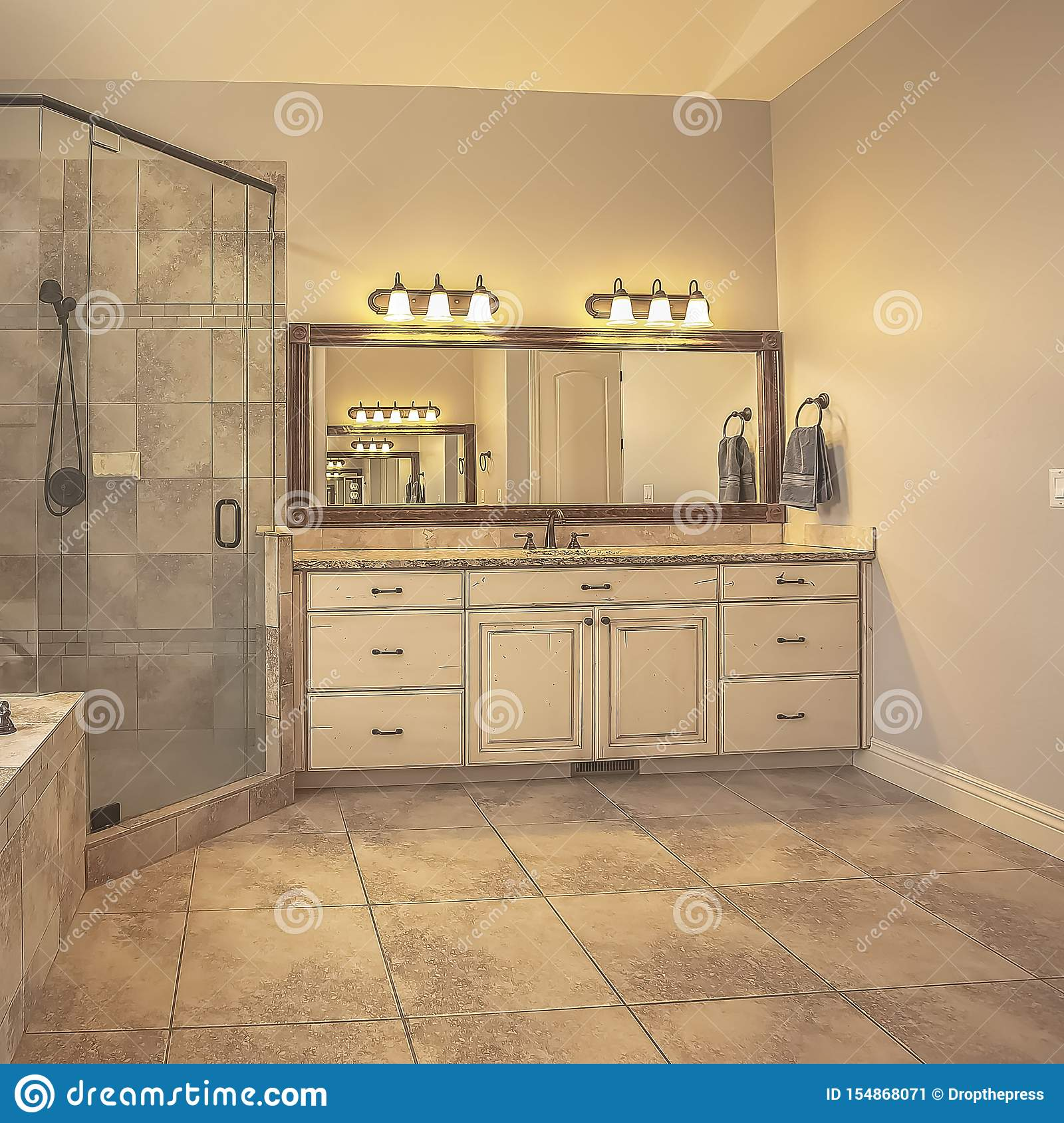 https www dreamstime com square shower stall oval bathtub front arched window curtain vanity unit rectangular mirror lights can image154868071
