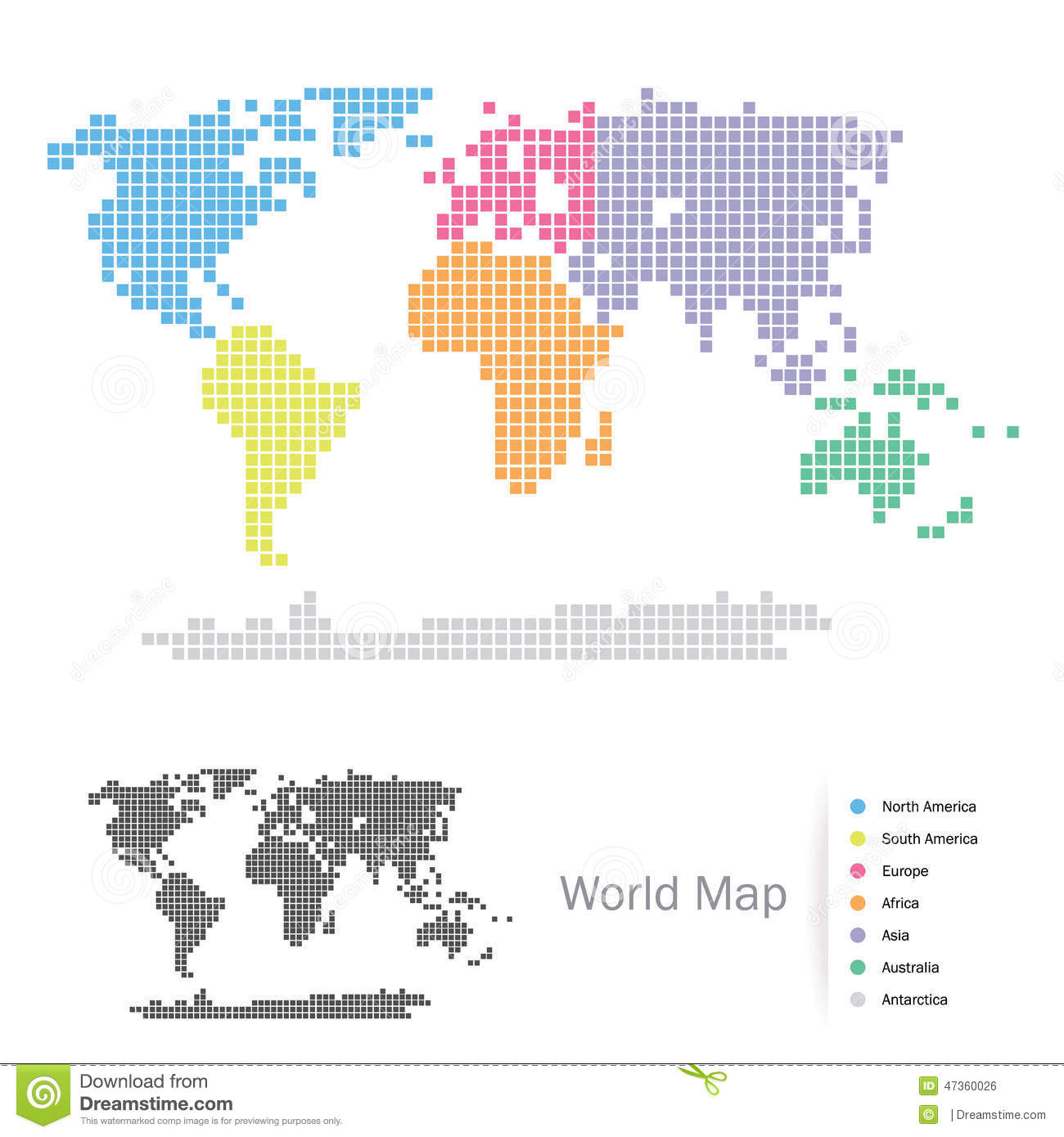 Squared World Continents Map Stock Vector