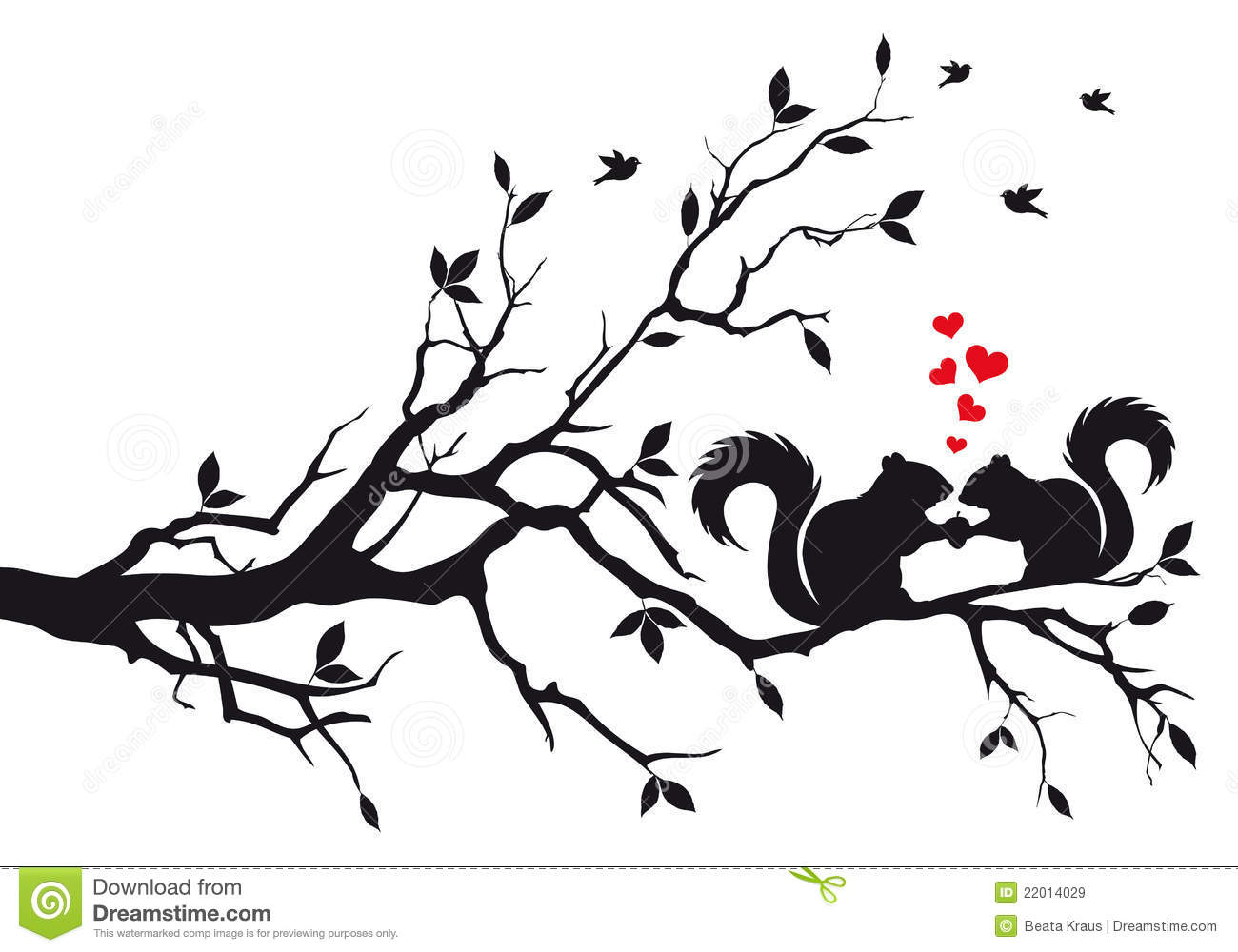 Squirrels On Tree Branch Stock Vector Illustration Of