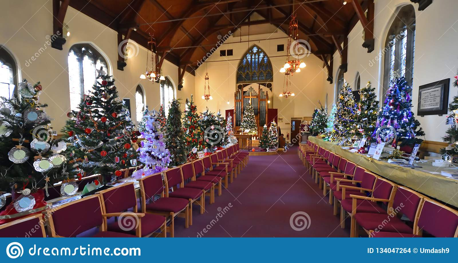 Christmas Tree Decorating Competition In Church Editorial