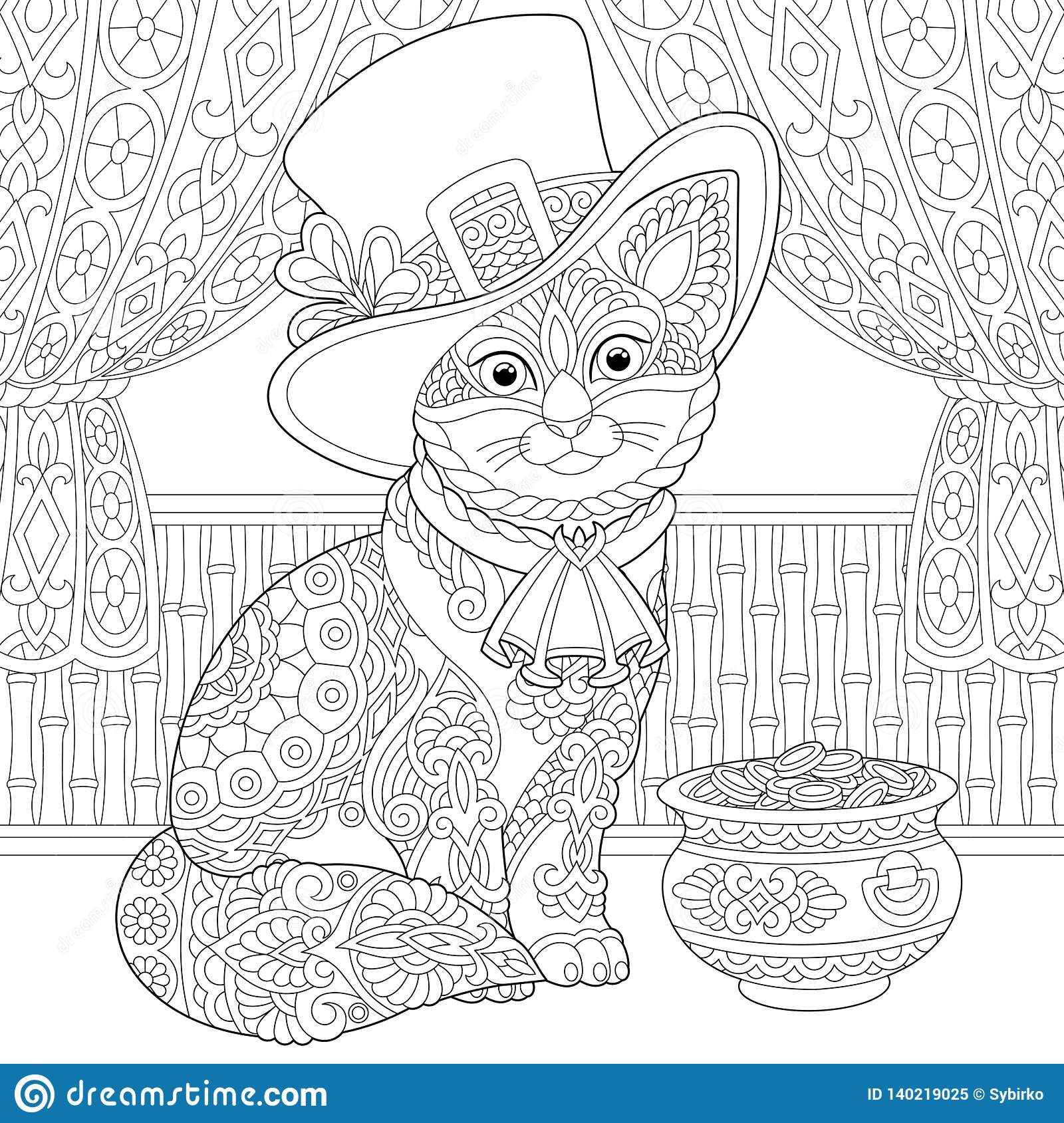 St Patrick Day Zentangle Cat Coloring Page Stock Vector Illustration Of Animal Design 140219025