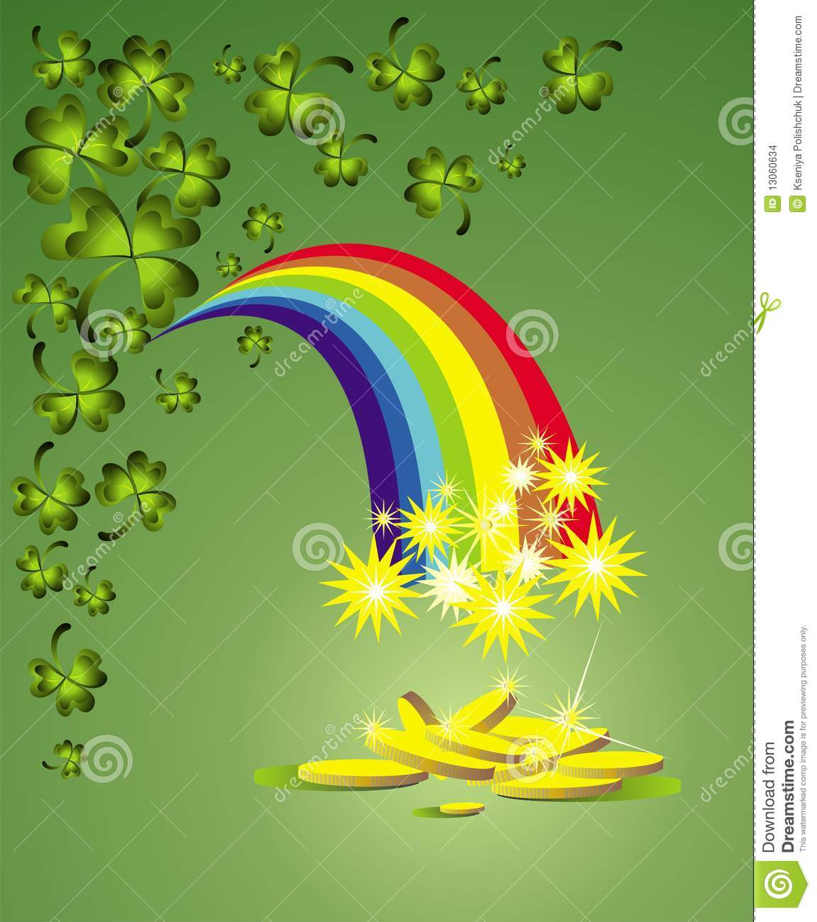 St Patrick S Day Background With Rainbow Stock Vector
