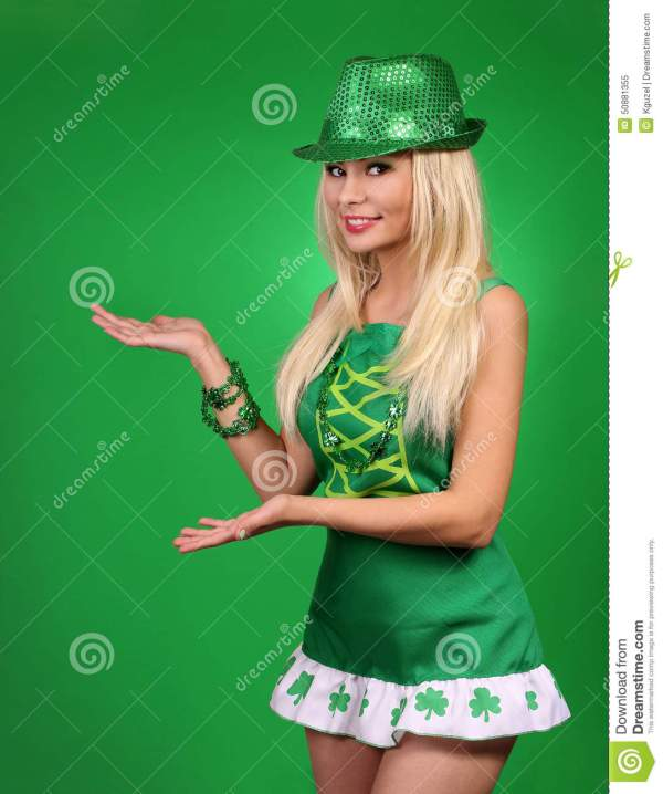 St Patrick's Day Girl. Cheerful Beautiful Blonde Young ...