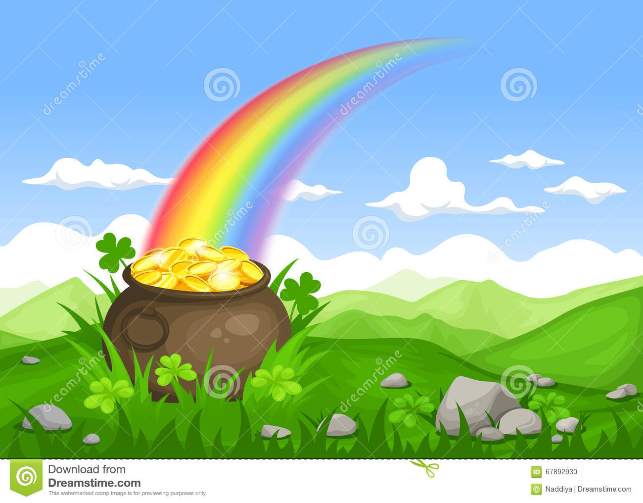 St Patrick S Day Irish Landscape With Pot Of Gold And