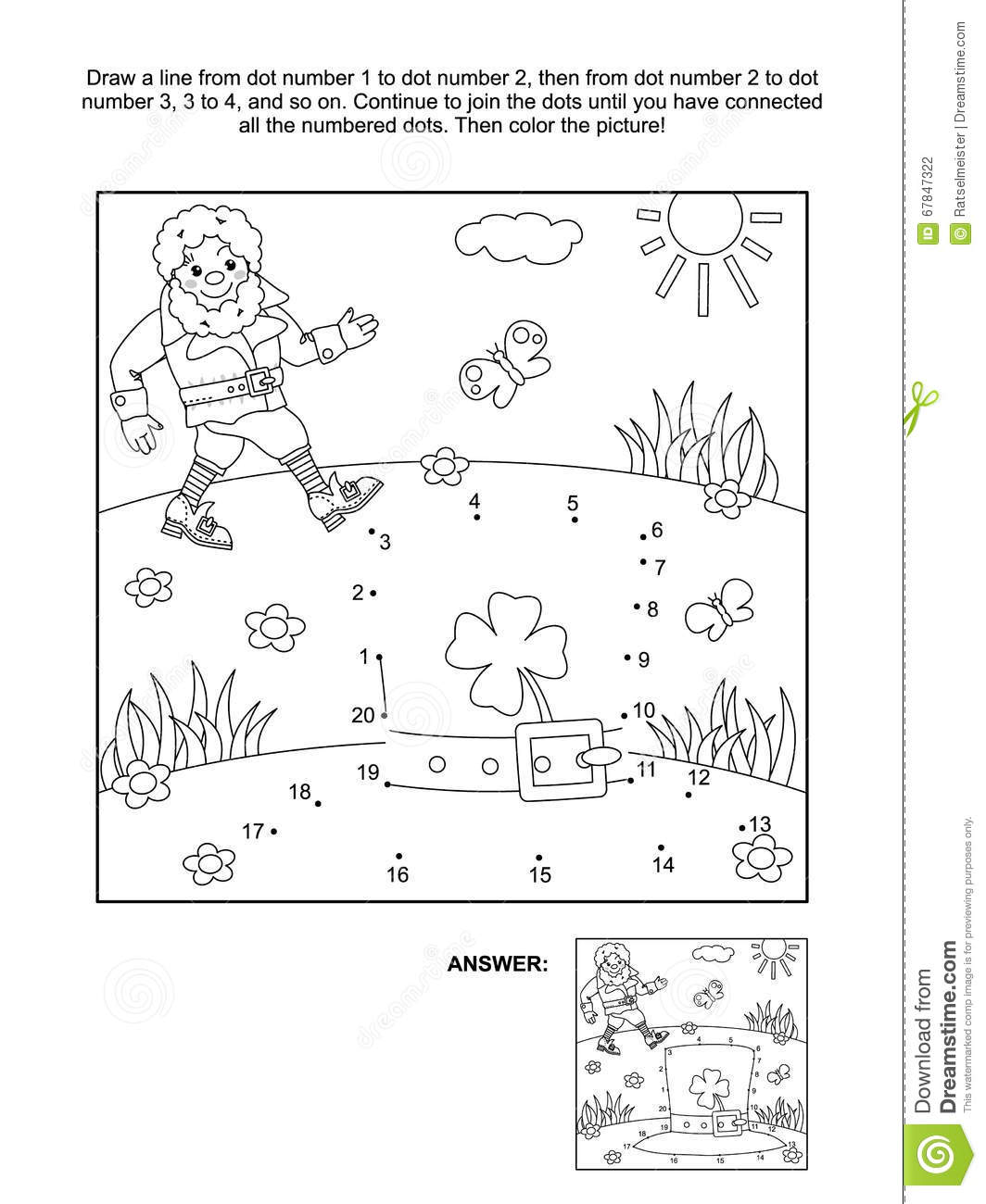 St Patrick S Day Themed Dot To Dot And Coloring Page
