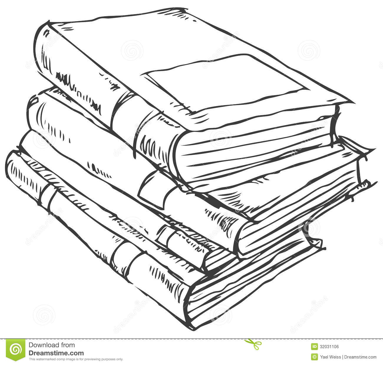 Stack Of Books Doodle Stock Vector Illustration Of