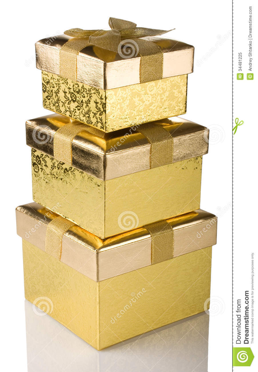 Stack Of Golden Gift Boxes Stock Image Image Of Gift