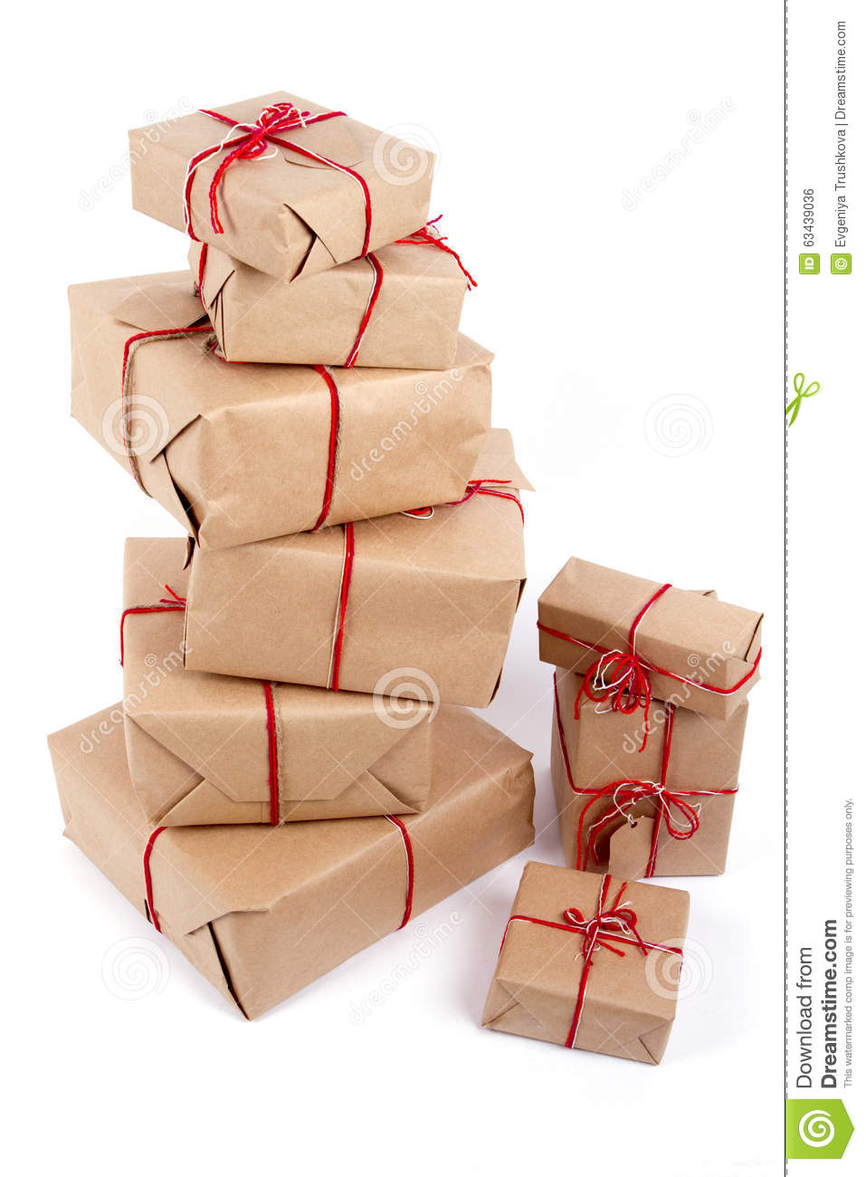 Stack Of Handcraft Gift Boxes On White Background Stock