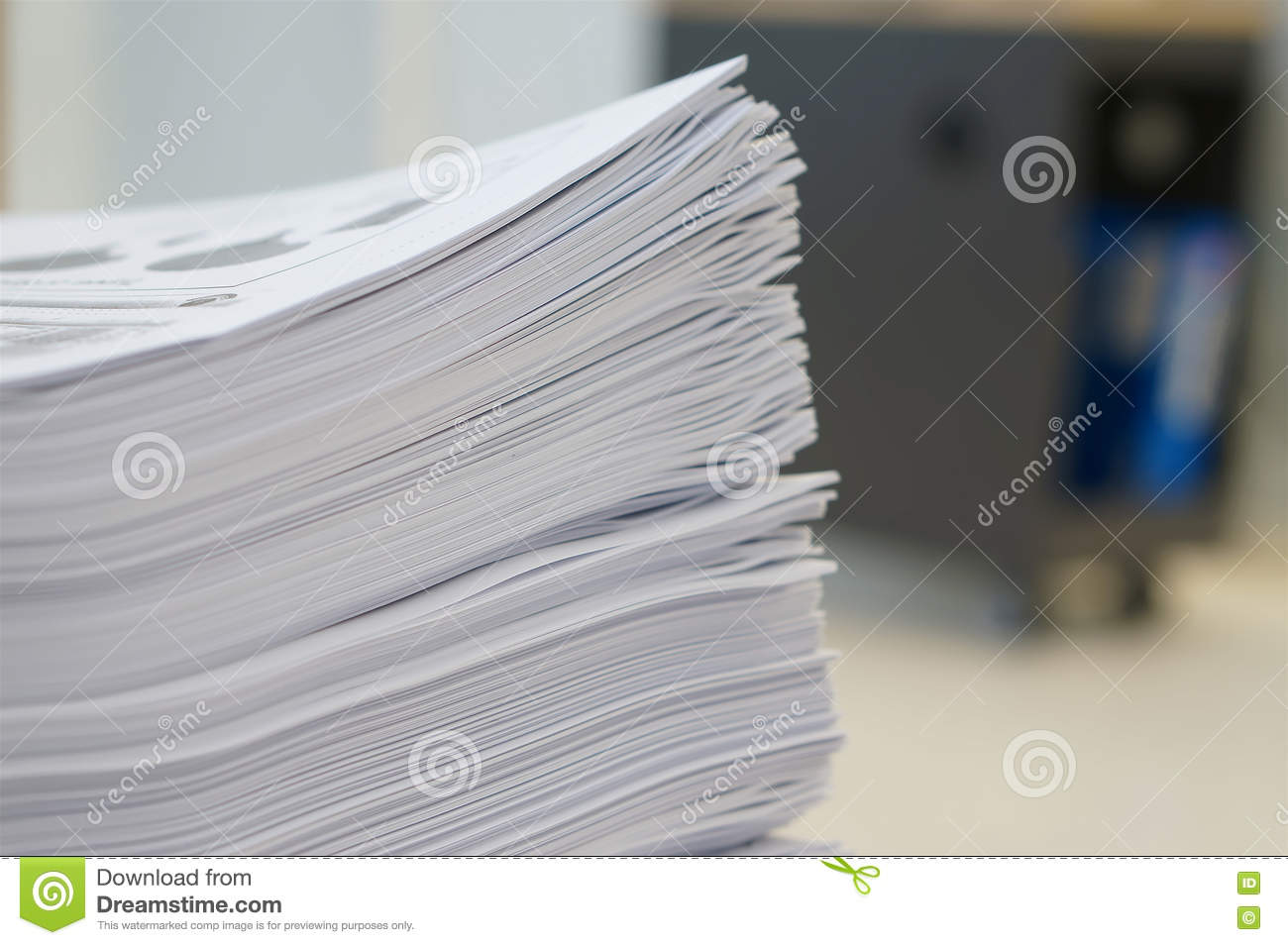 Stack Of Papers Worksheet At Office Stock Photo