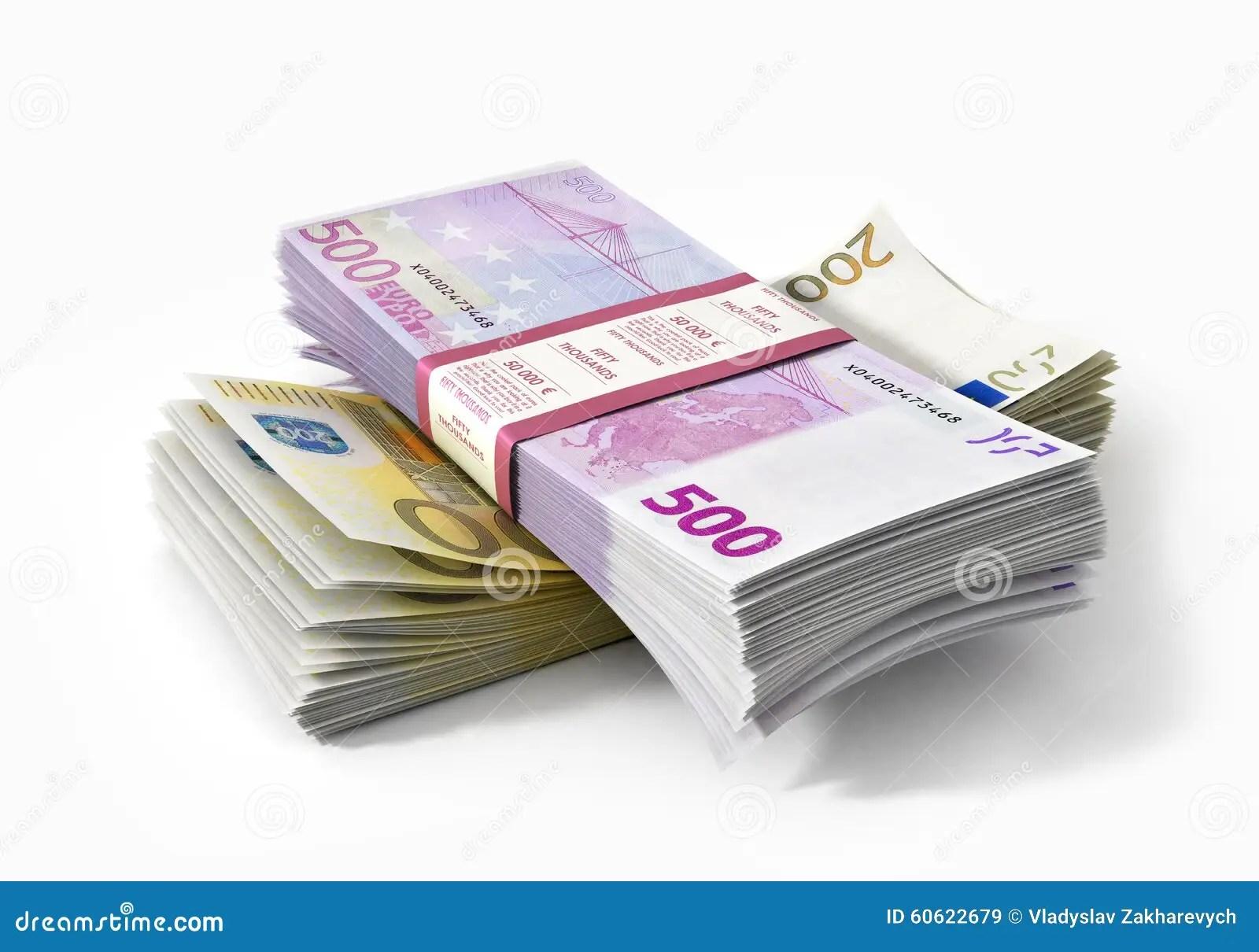 Stacks Of Euros Money Stock Image Image Of Savings