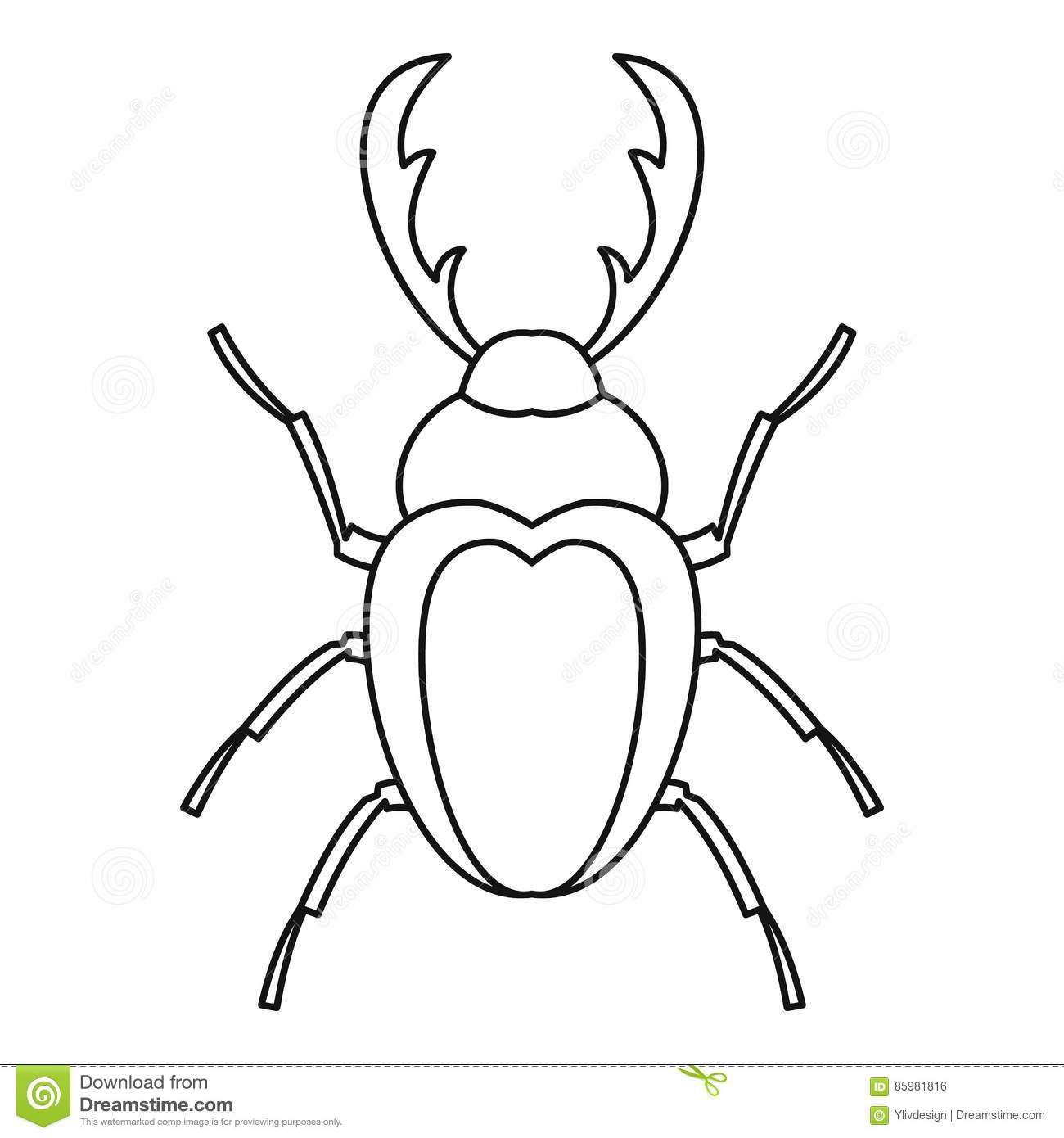 Stag Beetle Icon Outline Style Stock Vector