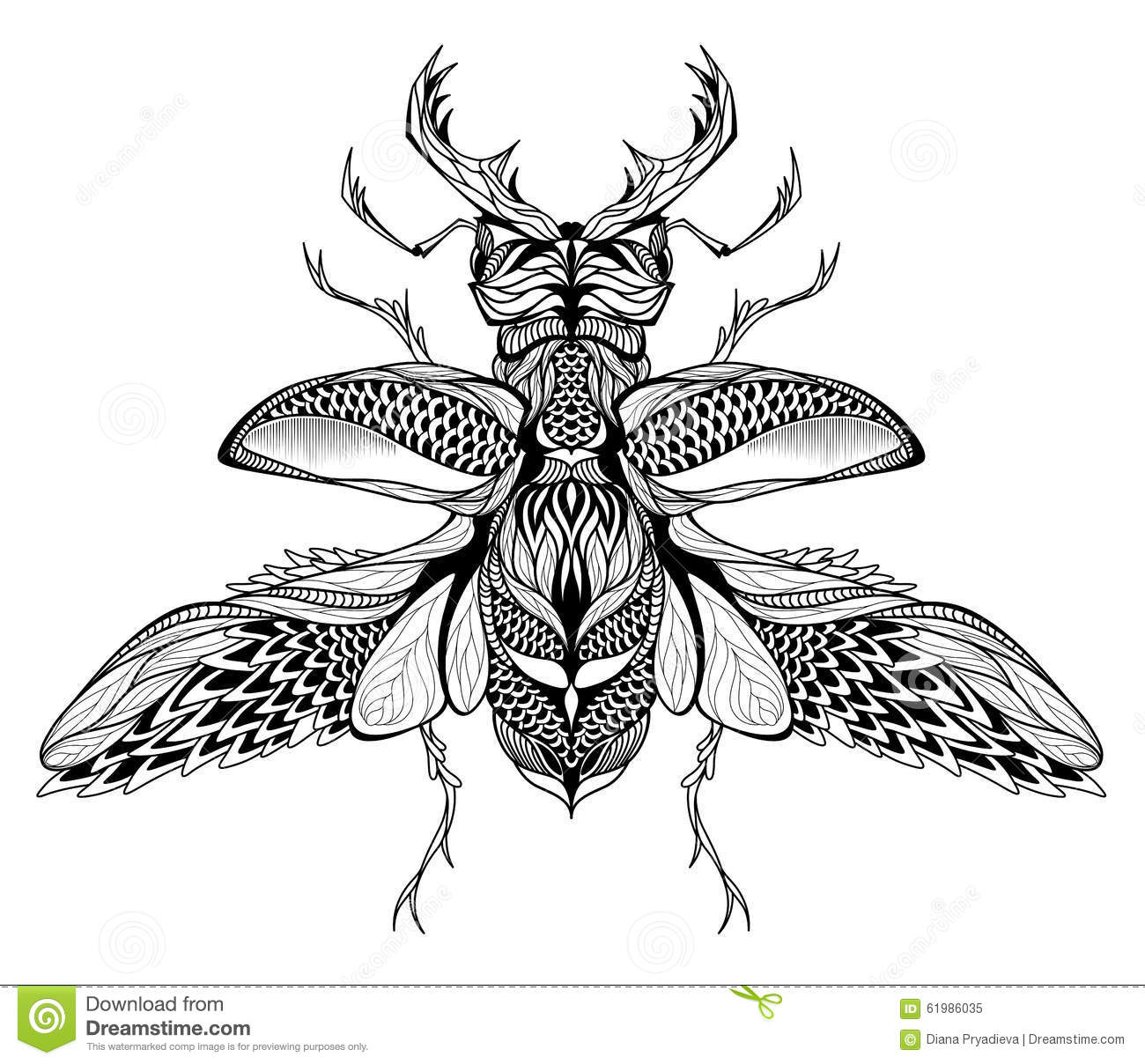 Stag Beetle Tattoo Psychedelic Zentangle Style Stock