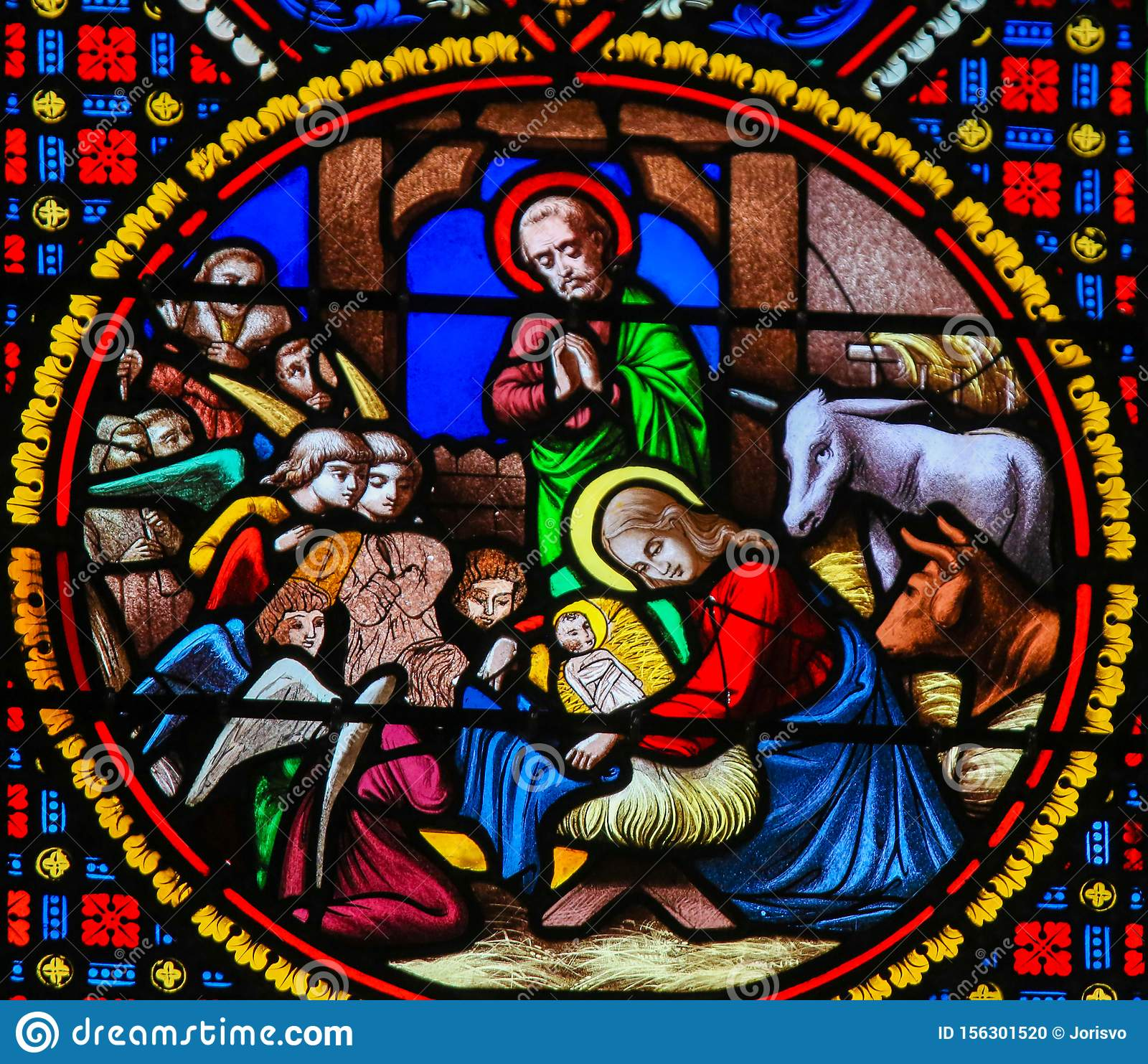 https www dreamstime com stained glass notre dame des flots le havre nativity scene christmas chapel sainte adresse france depicting baby image156301520
