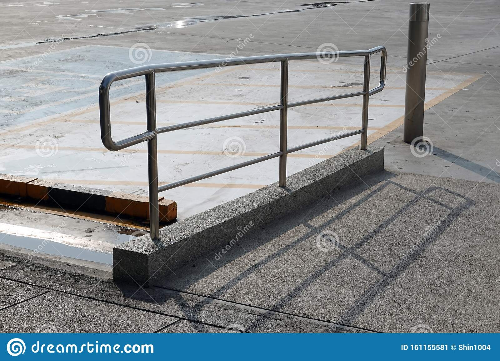 Stairs With Stainless Steel Handrails In The Parking Stock Image | Stainless Steel Handrails Near Me | Metal | Cable Railing | Glass Railing Systems | Relaxdays Stainless | Staircase Railing