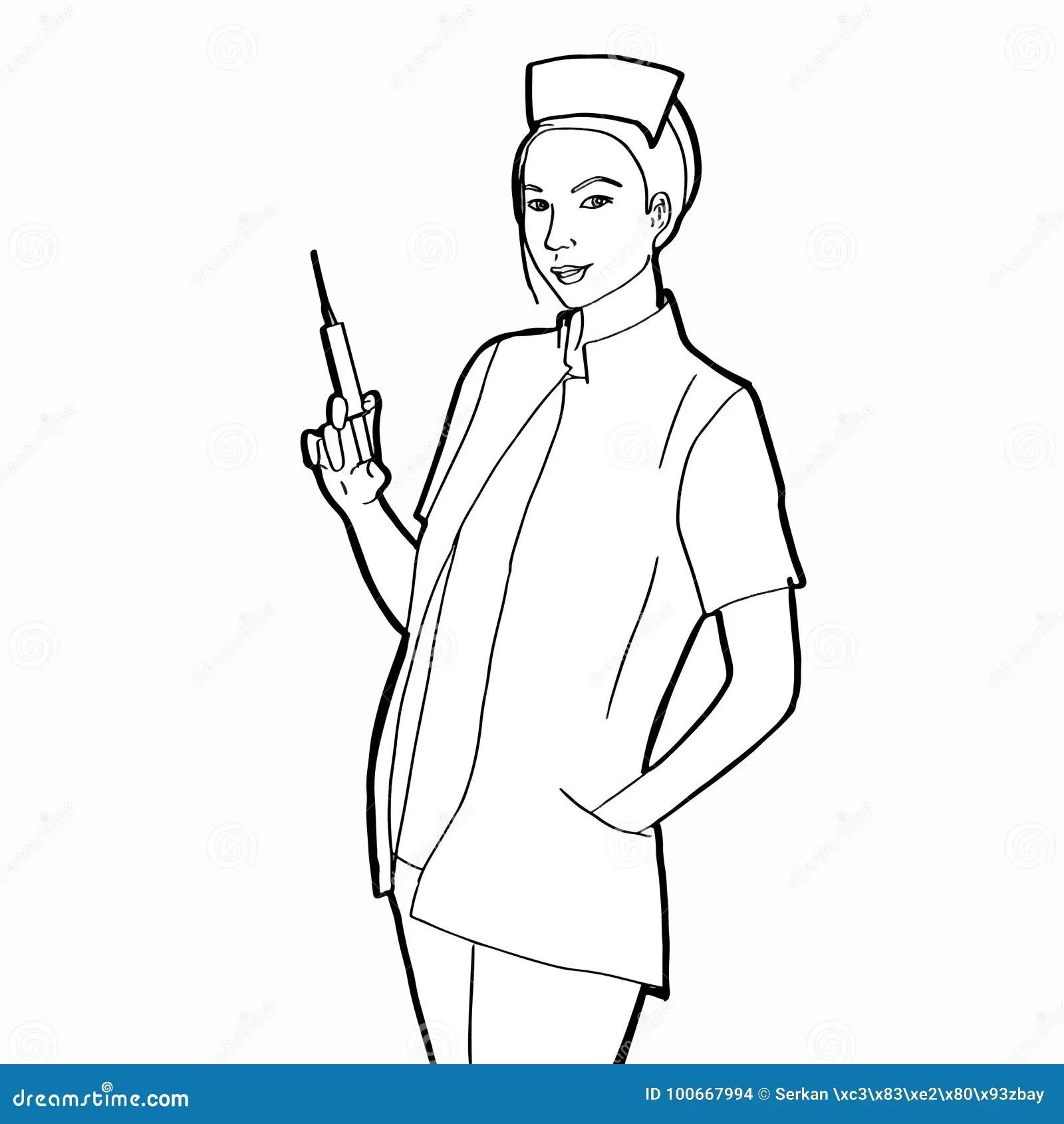 Standing Nurse Stock Vector Illustration Of Equipment
