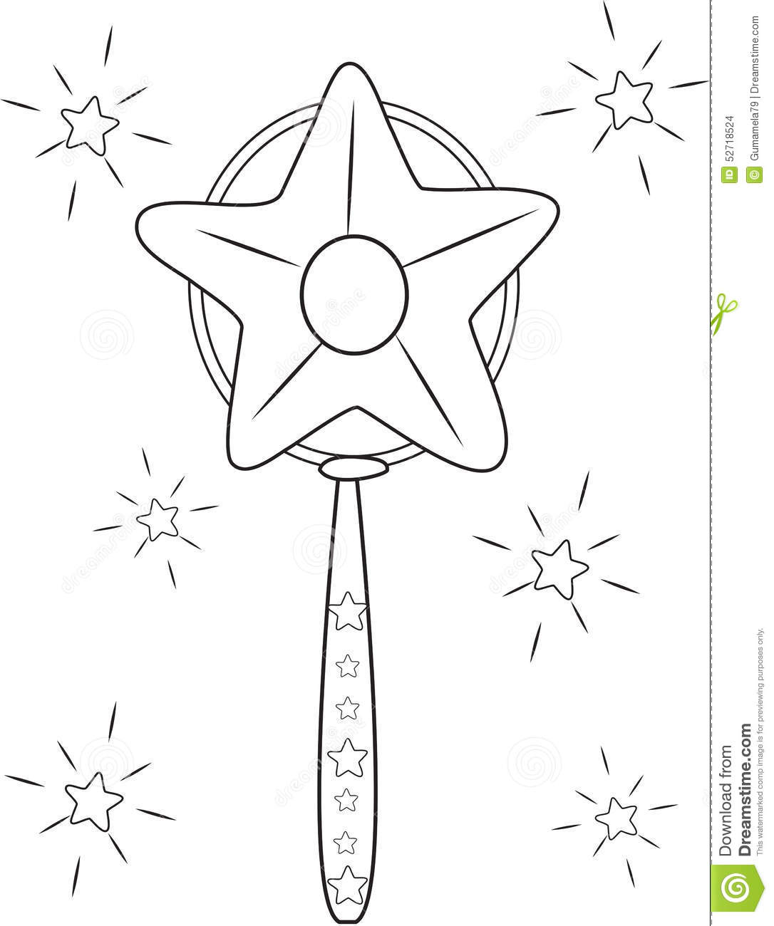 A Star Magic Wand Coloring Page Stock Illustration