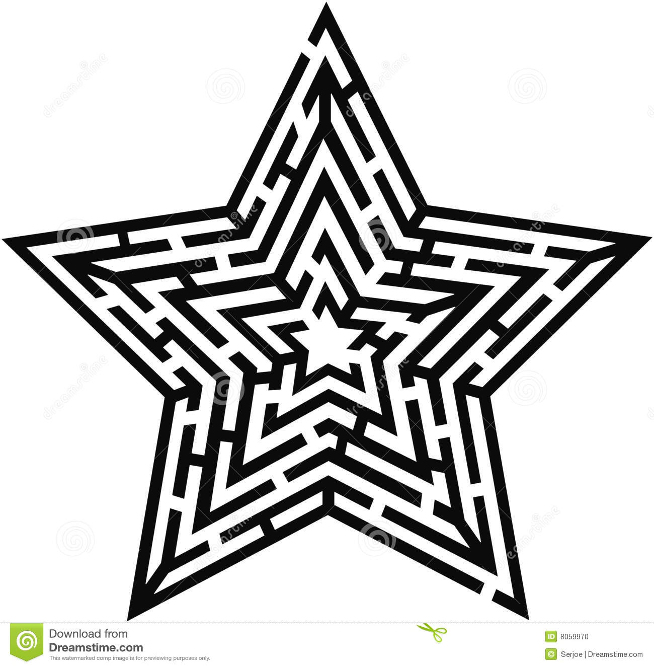 Star Type Labyrinth Stock Photo