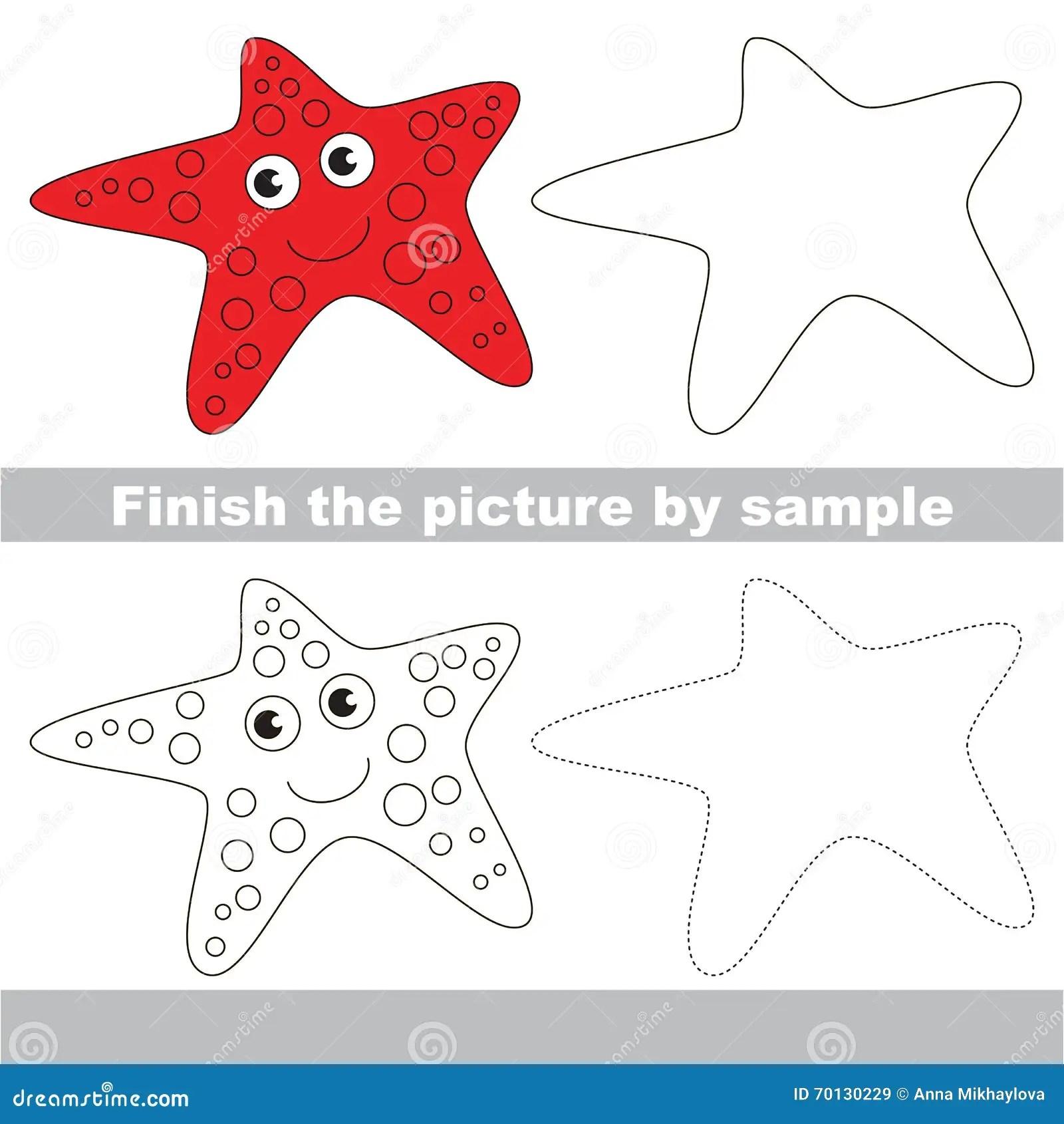 Starfish Drawing Worksheet Stock Illustration
