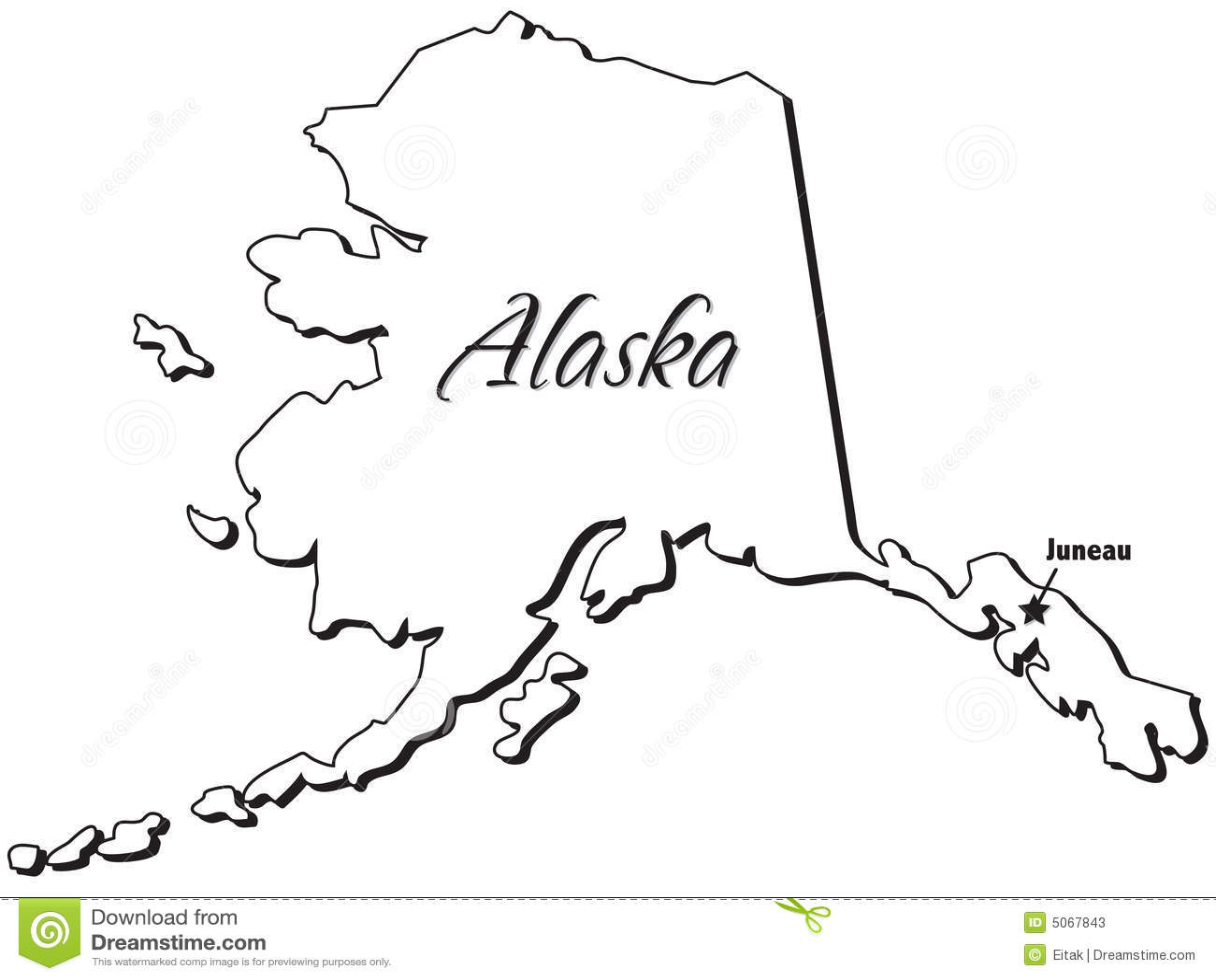 State Of Alaska Outline Stock Vector Illustration Of