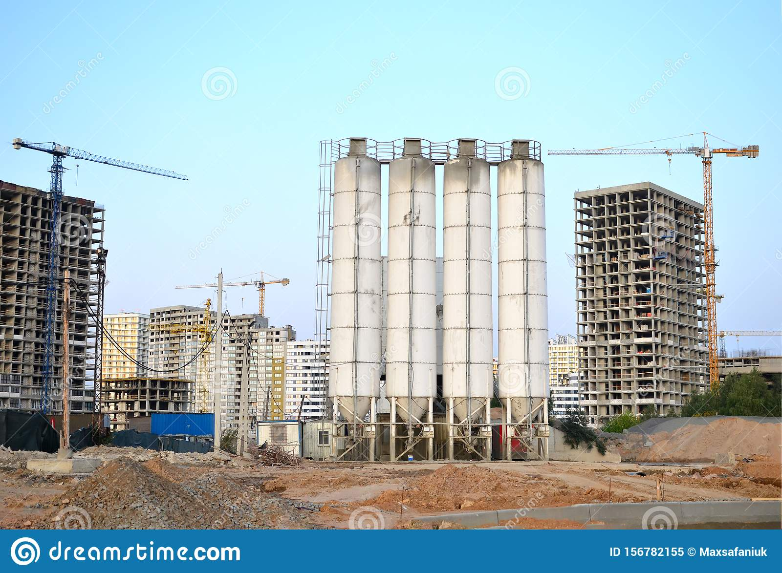 Stationary Concrete Batching Plant On Construction Site