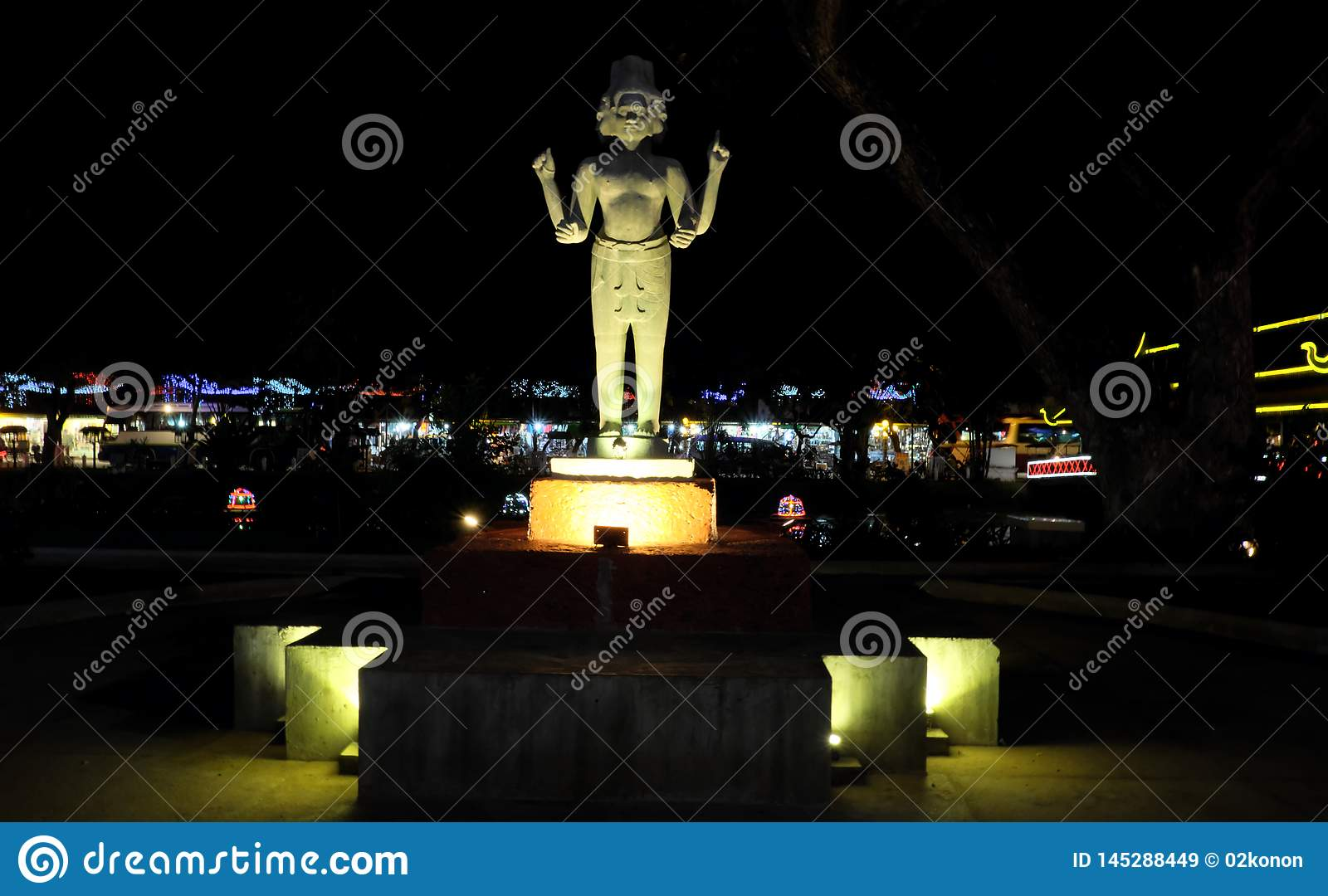 https www dreamstime com statue hindu deity four hands several faces night lighting asian culture statue hindu deity four image145288449