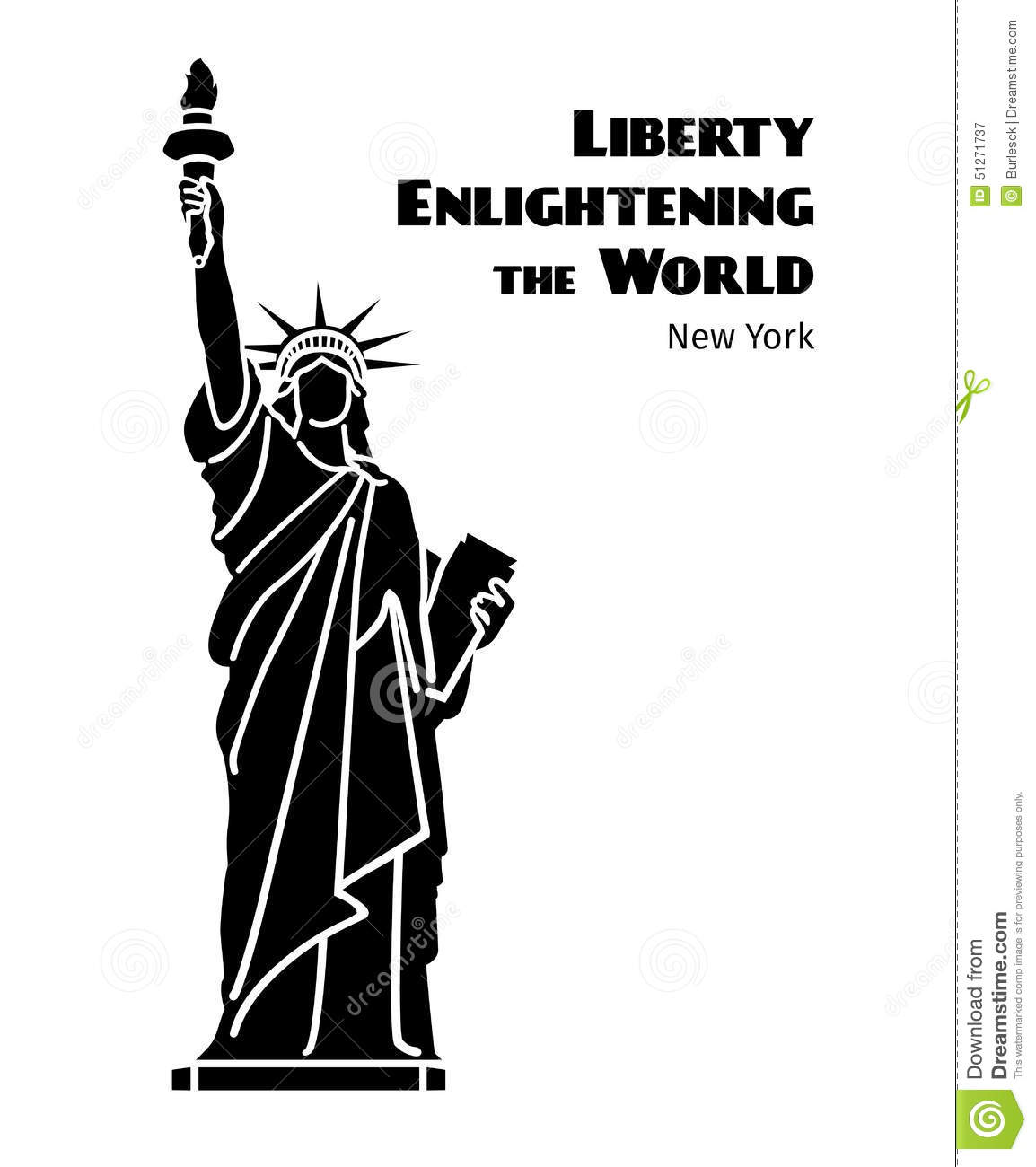 Statue Of Liberty Vector Black Isolated Silhouette Stock