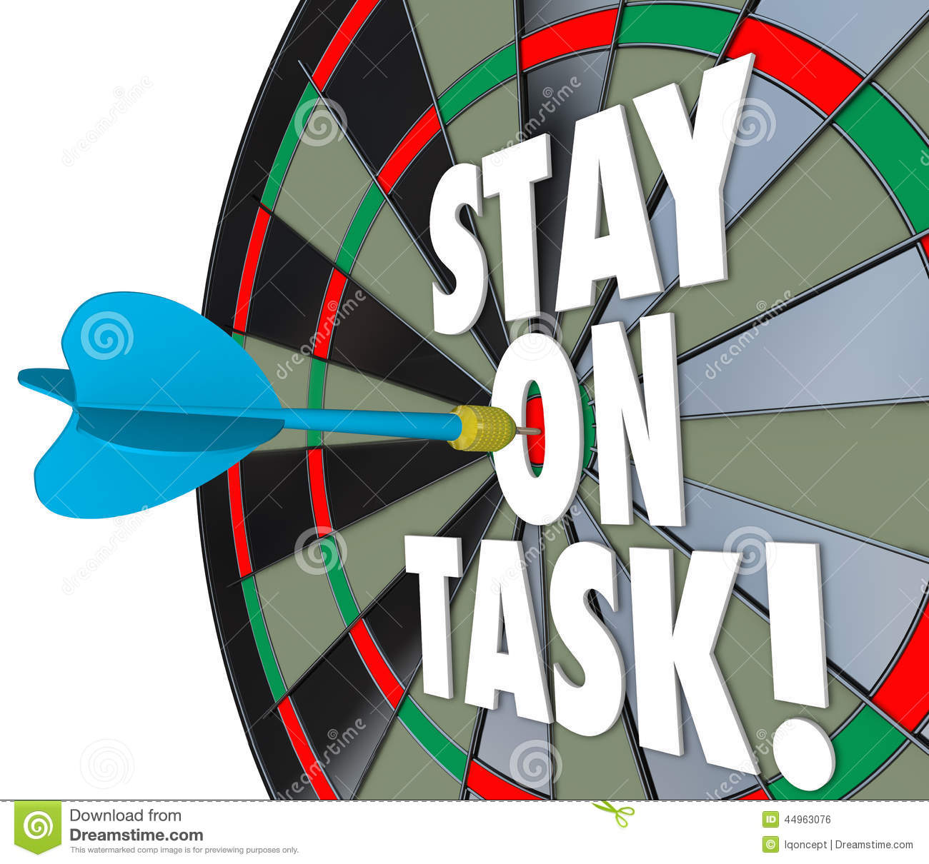 Stay On Task 3d Words Dart Board Complete Job Stock