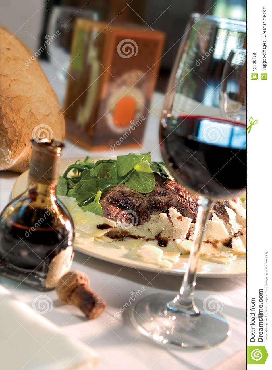 Steak Dinner With Glass Of Wine Stock Photo Image 13806878