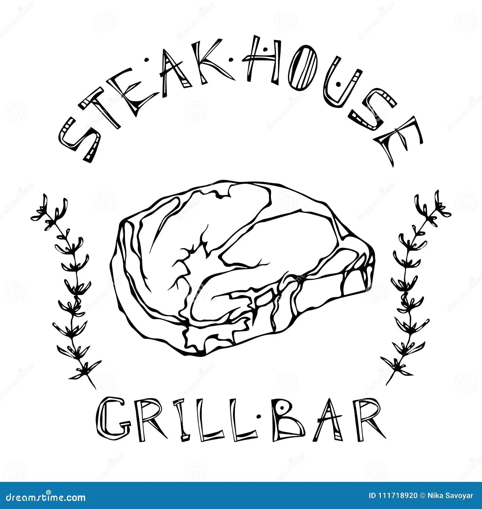 Steak House Or Grill Bar Logo Rib Eye Steak Beef Cut With