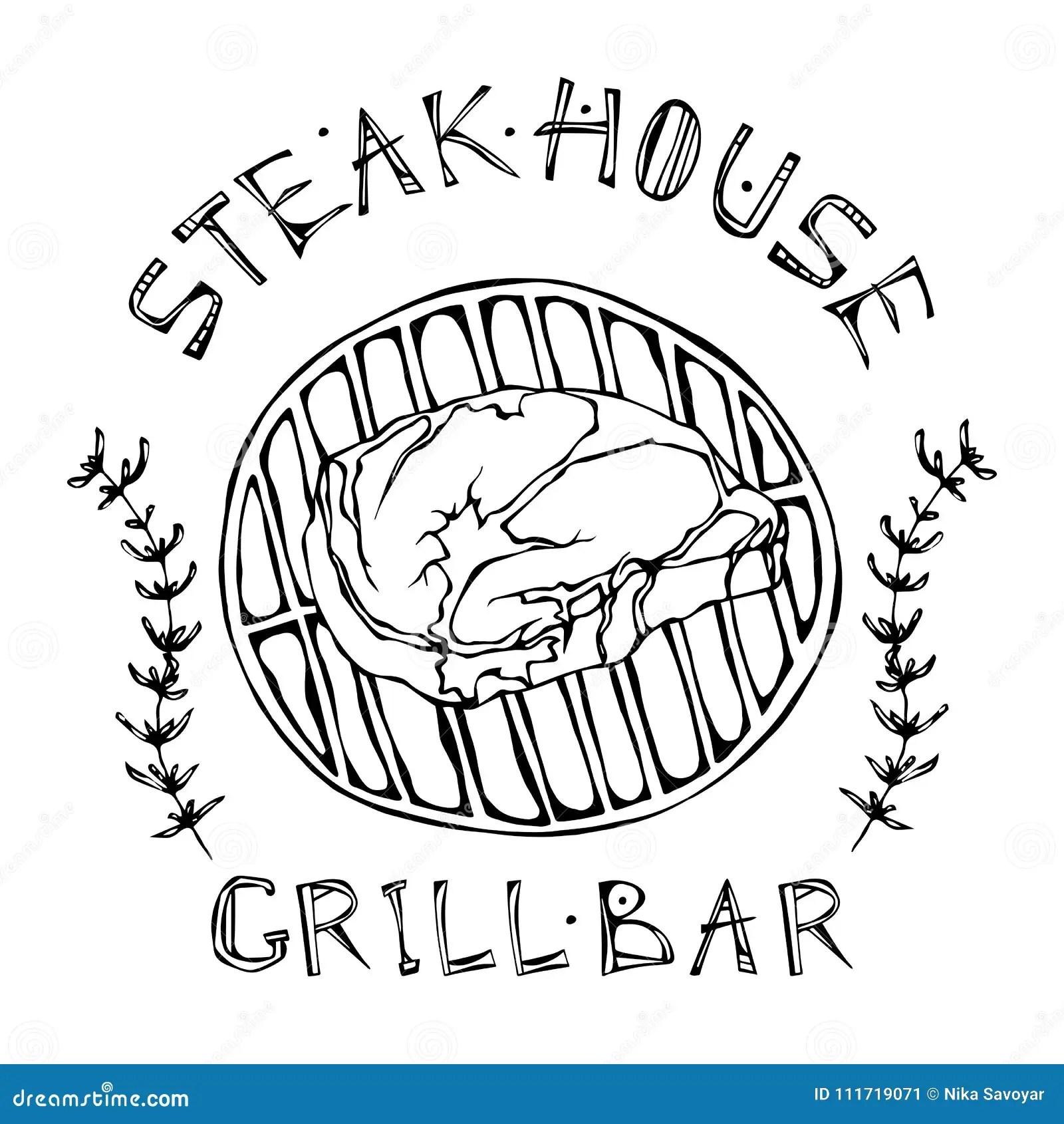 Steak House Or Grill Bar Logo Rib Eye Steak On A Grill