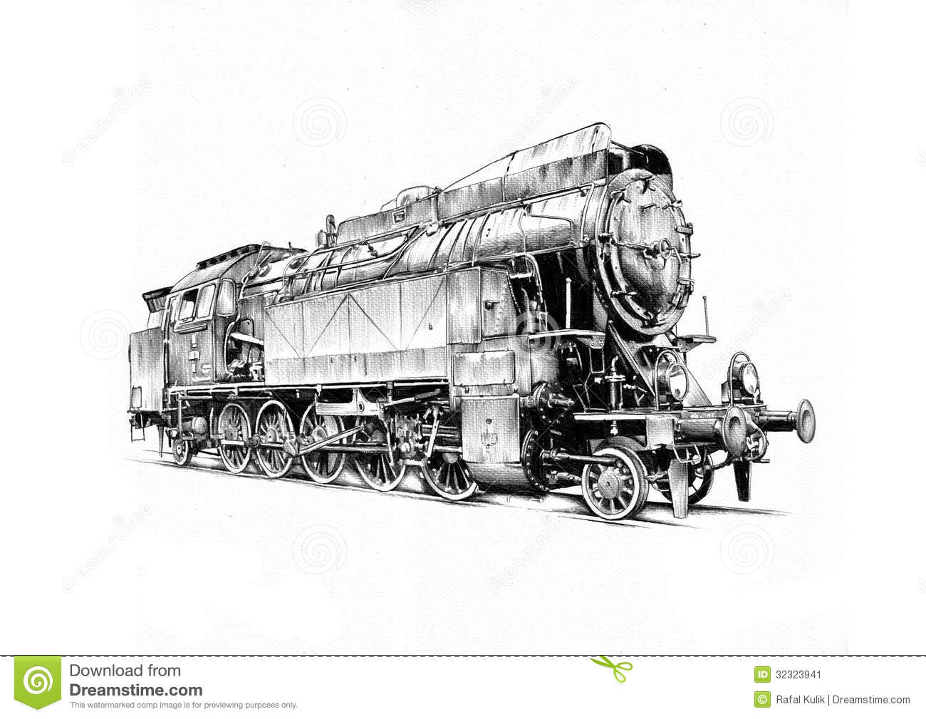 Steam Engine Art Design Drawing Stock Image