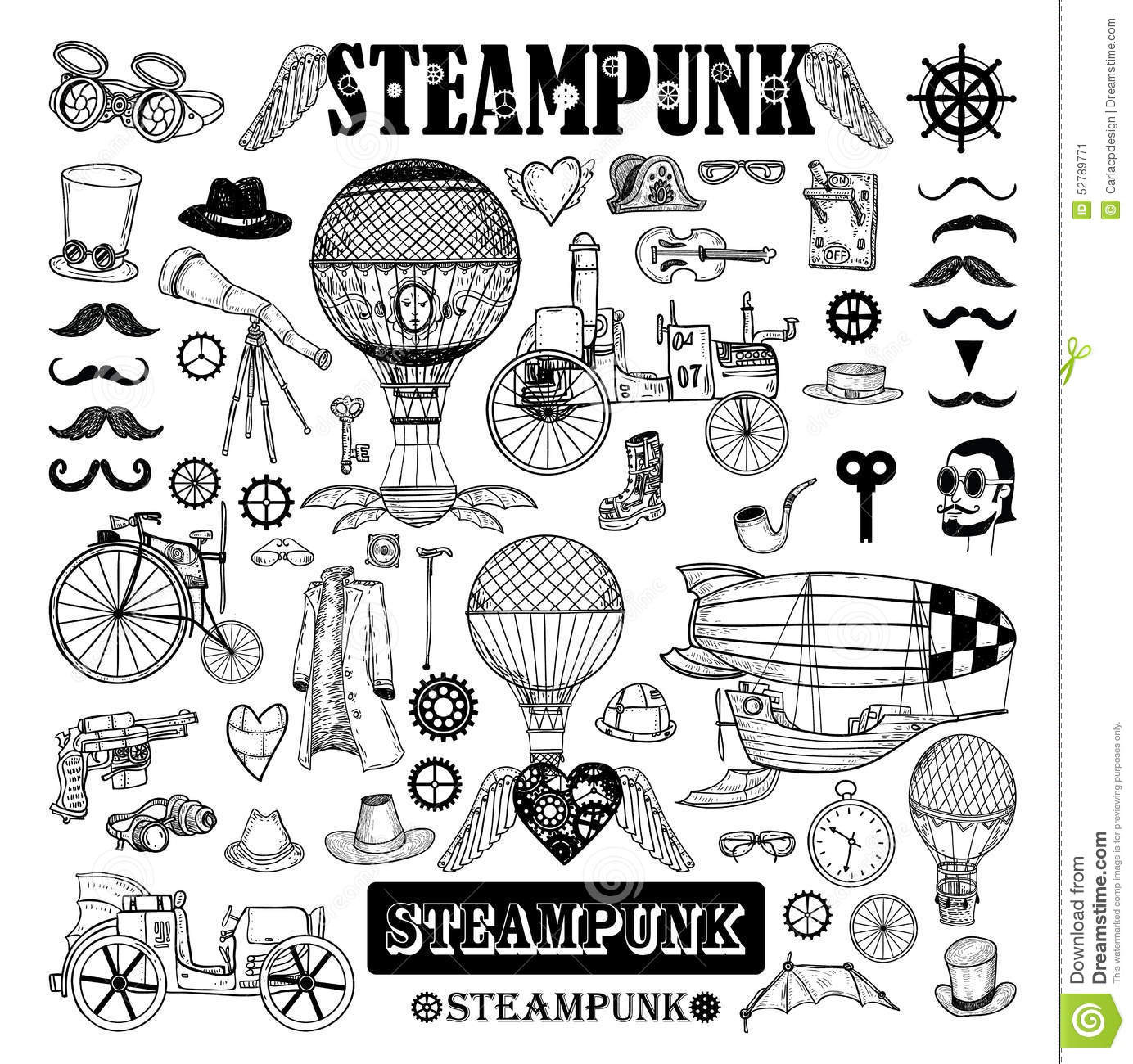 Steampunk Collection Hand Drawn Vector Illustration Stock