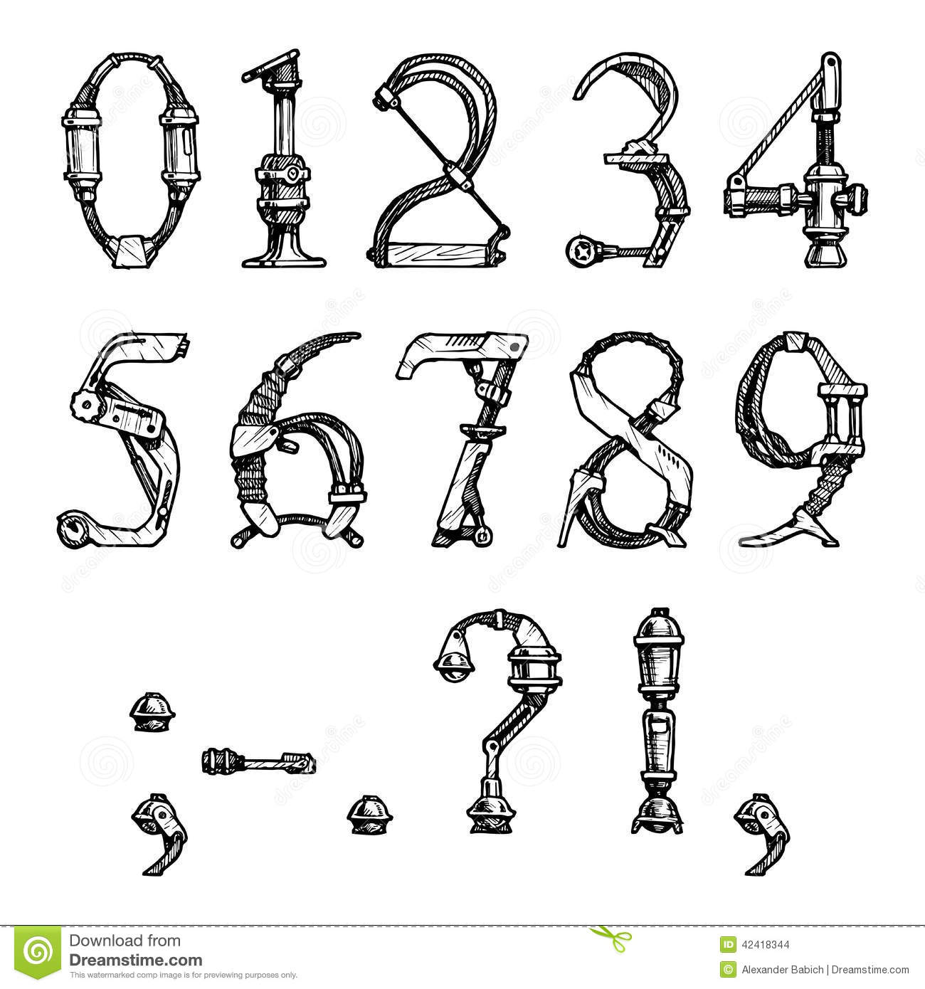 Steampunk Font Stock Vector Image Of Docket Inscription