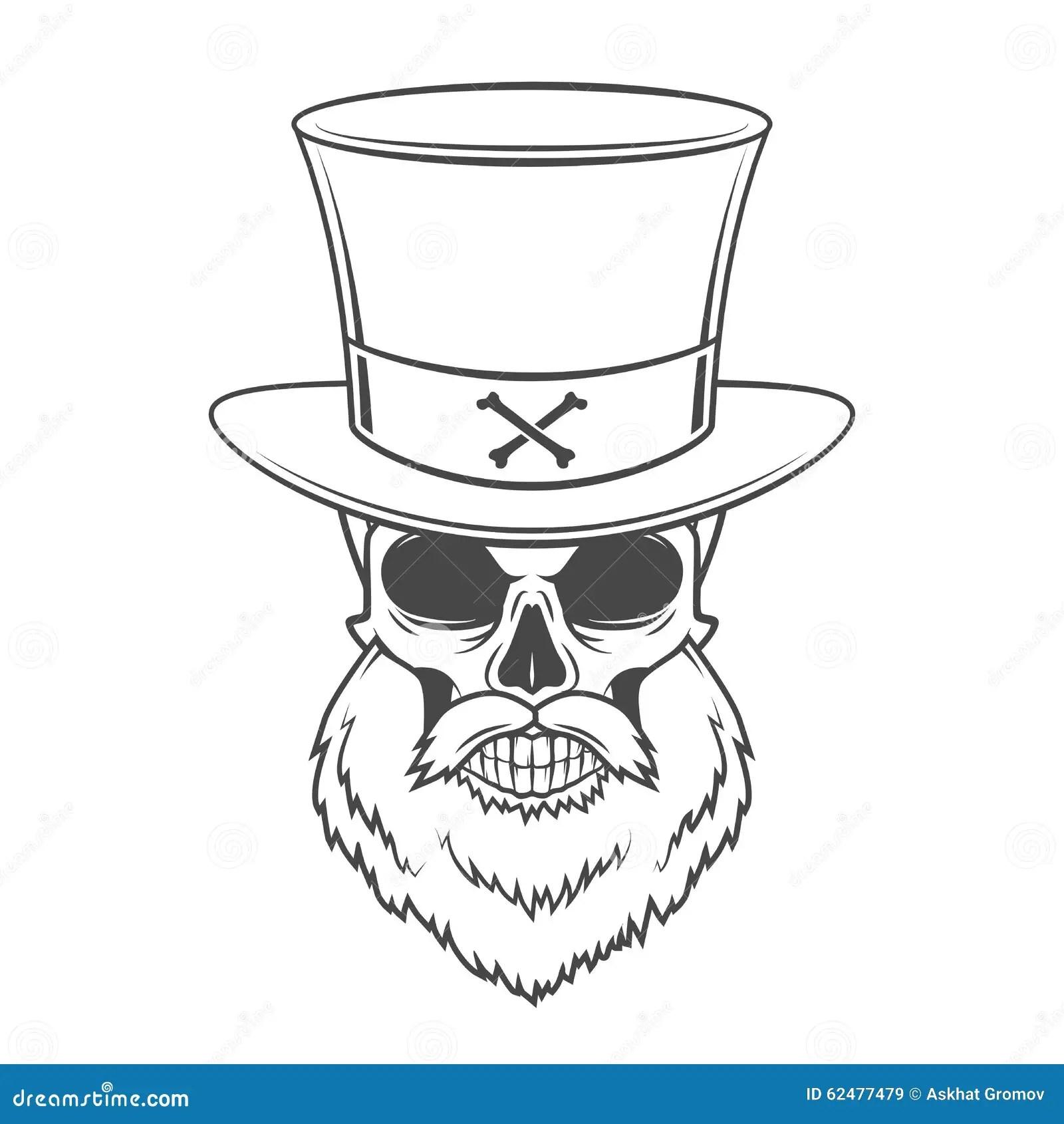 Steampunk Head Hunter Skull With Beard Stock Vector