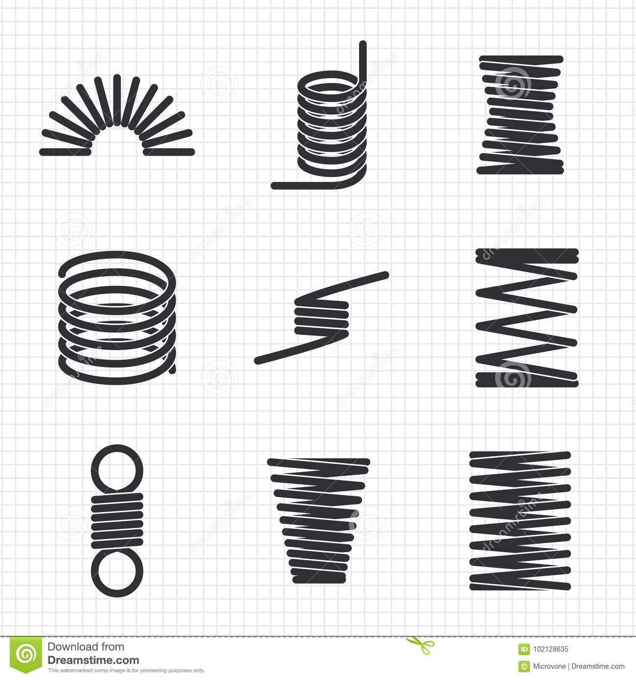 Steel Wire Flexible Spiral Coils Spring Stock Vector