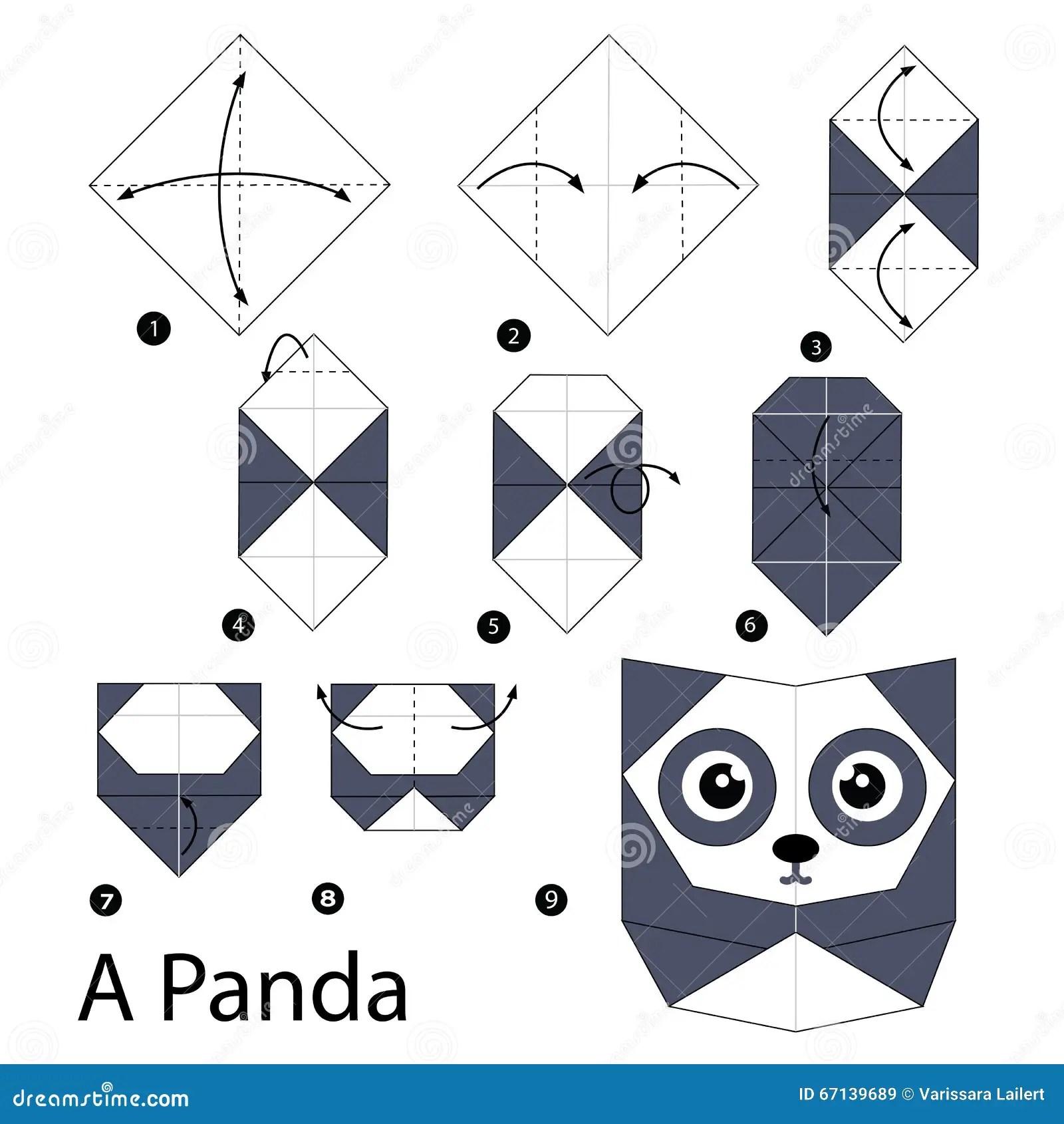 Steg For Steg Anvisningar Hur Man Gor Origami En Panda