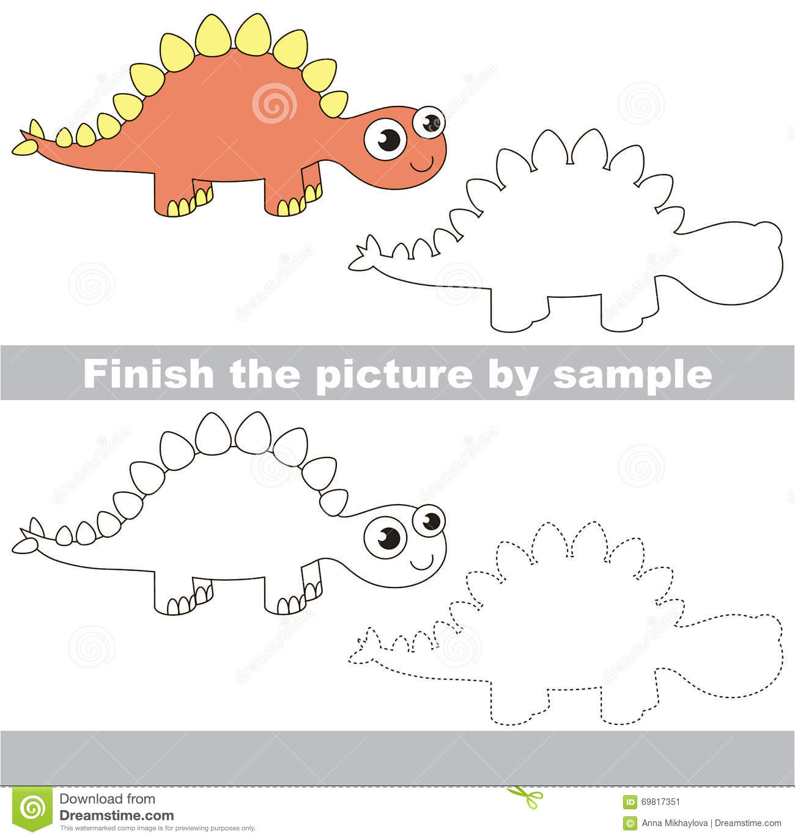 Stegosaurus Drawing Worksheet Stock Vector