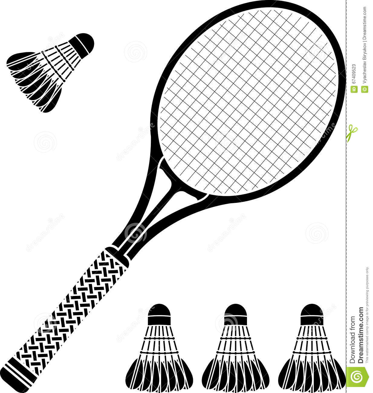 Stencil Of Racket And Badminton Shuttlecocks Stock Vector