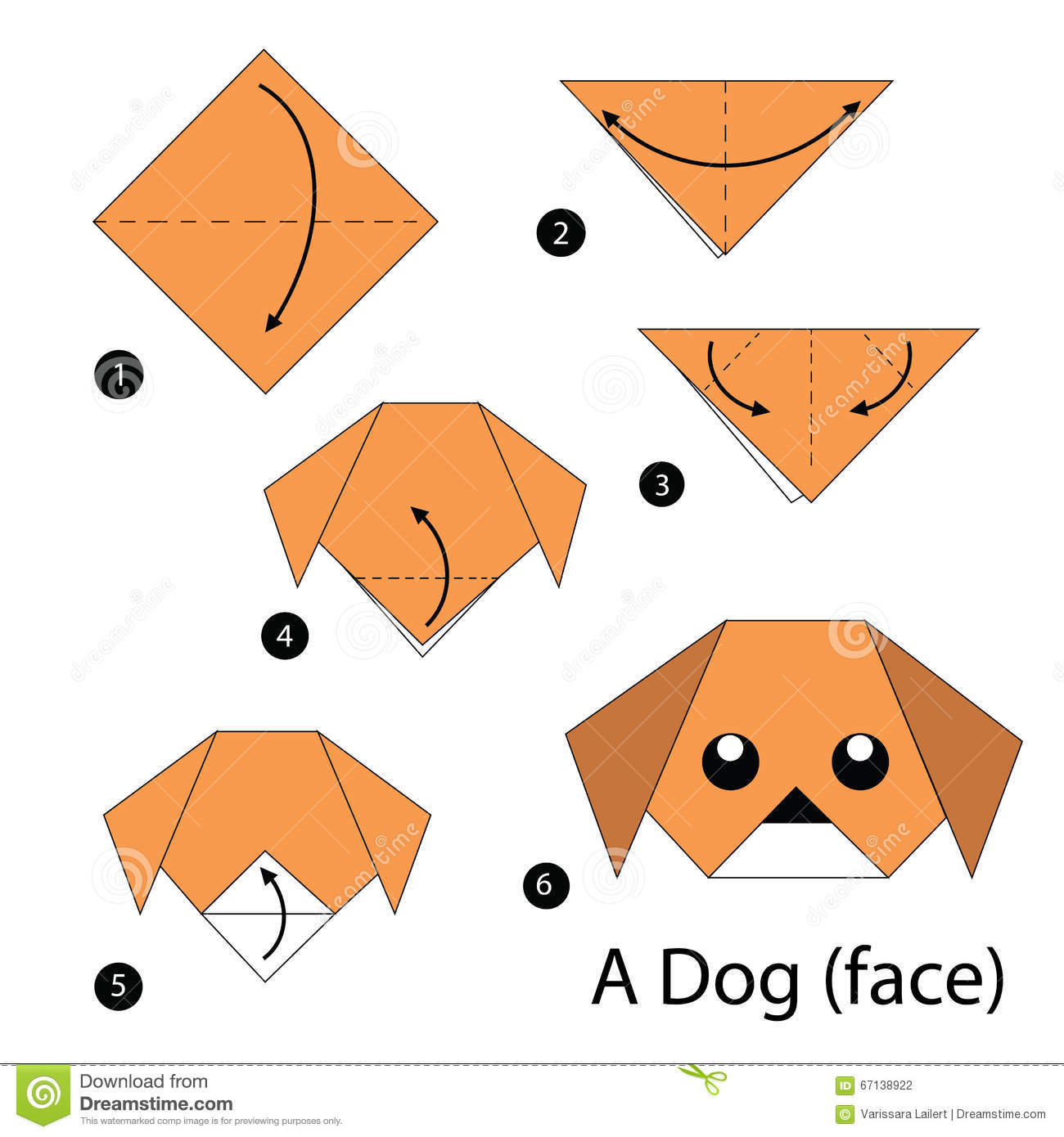Easy Origami Puppy Face Instructions | 1390x1300