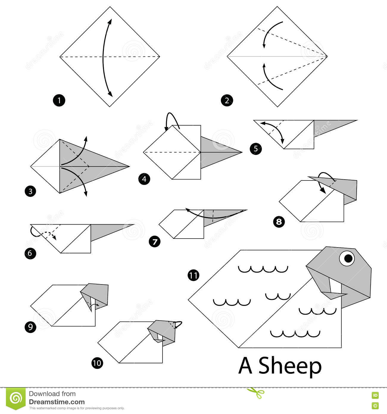 Step By Step Instructions How To Make Origami A Sheep