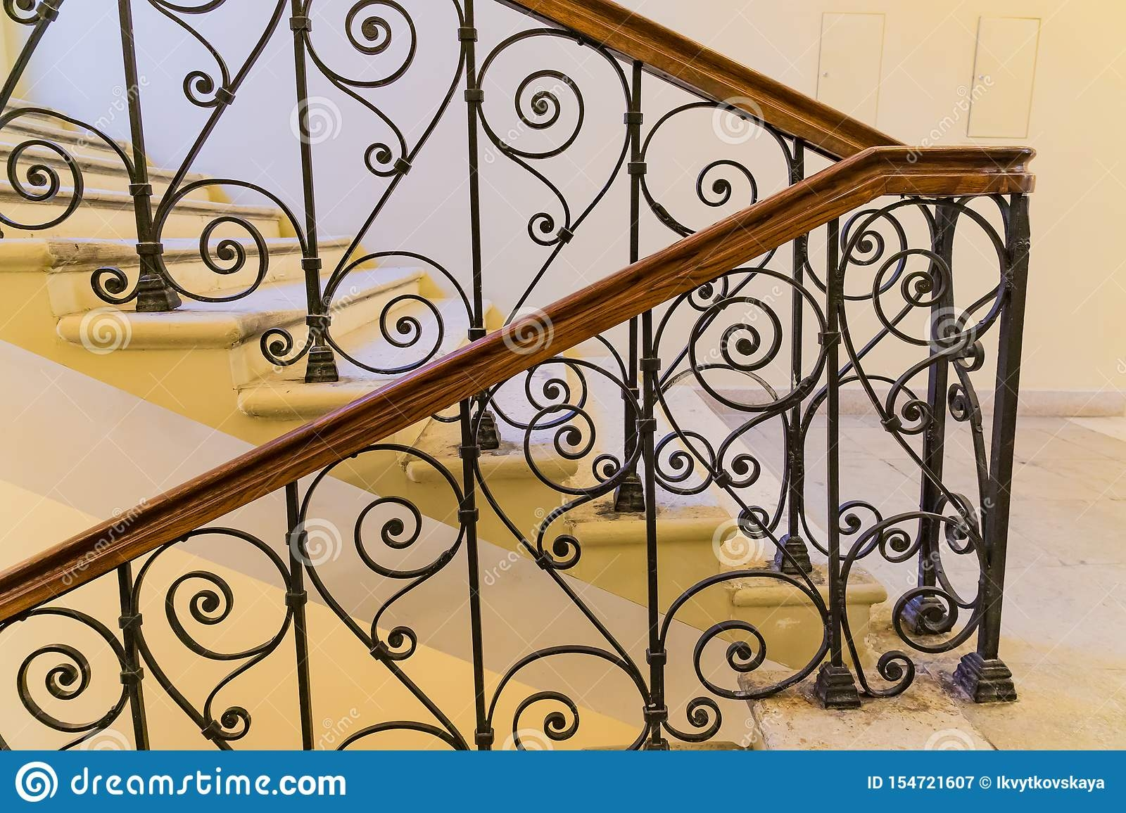 Steps With Handrails Forged Staircase Indoors Stock Image Image | Handrails For Steps Indoors | Staircase Around Lift Wall | Glass Panel Stainless Steel Handrail | Narrow Staircase Brushed Nickel | Width Hand | Minimalist
