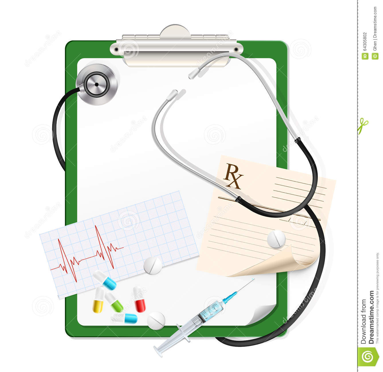 Stethoscope With White Blank Paper Stock Vector