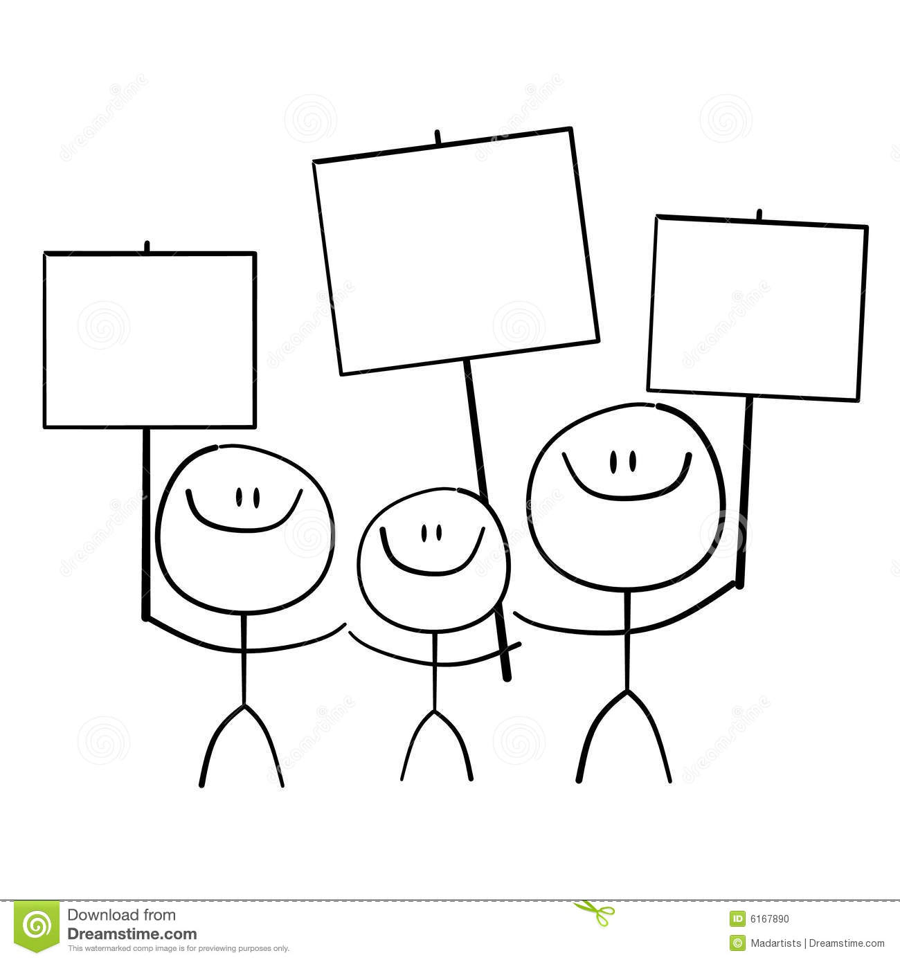 Stick Family Holding Signs Stock Photo