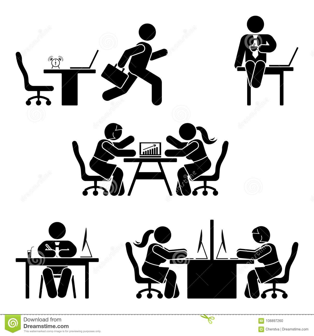 Stick Figure Office Poses Set Business Finance Workplace
