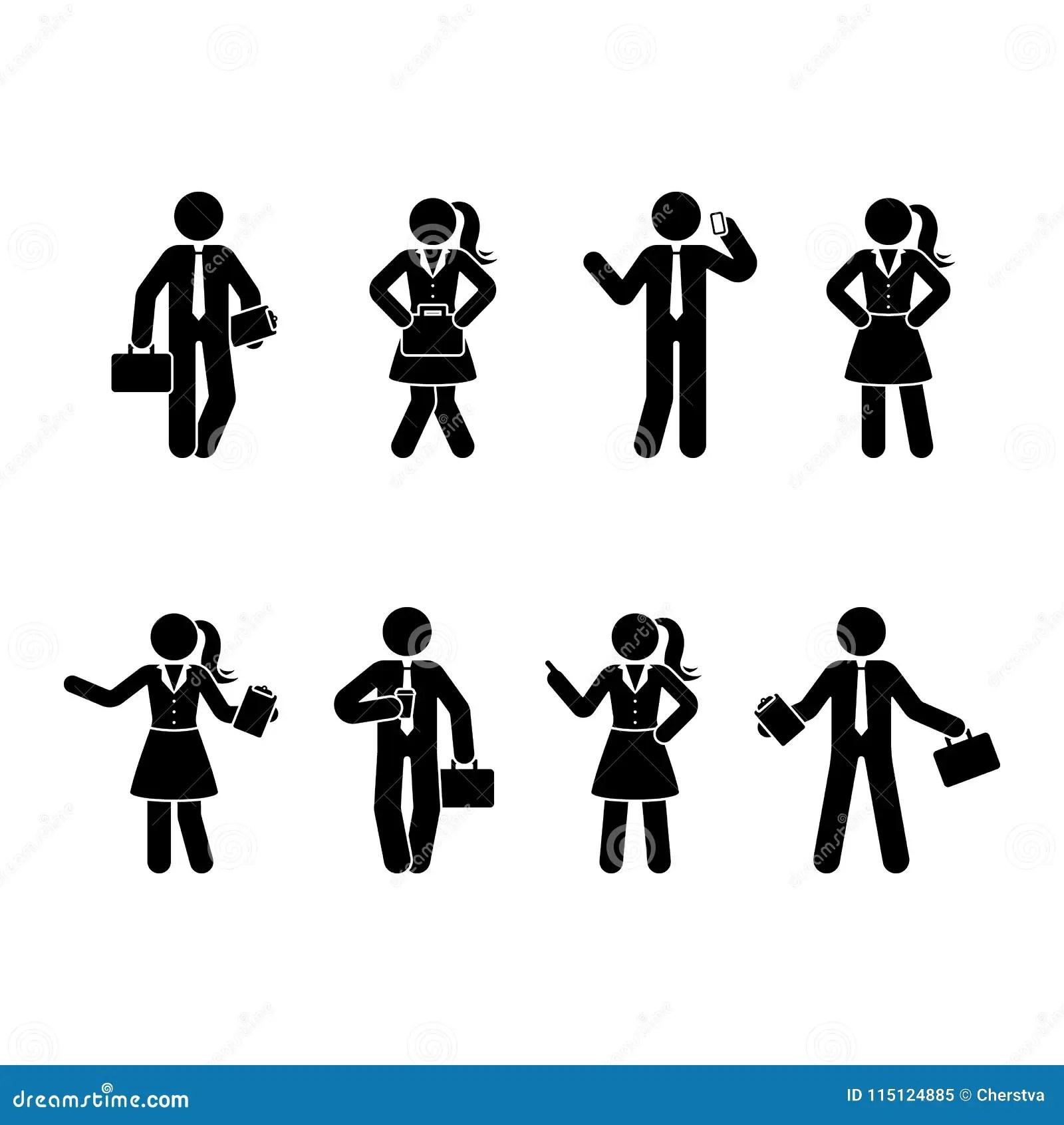 Stick Figure Office Workers Set Stock Vector