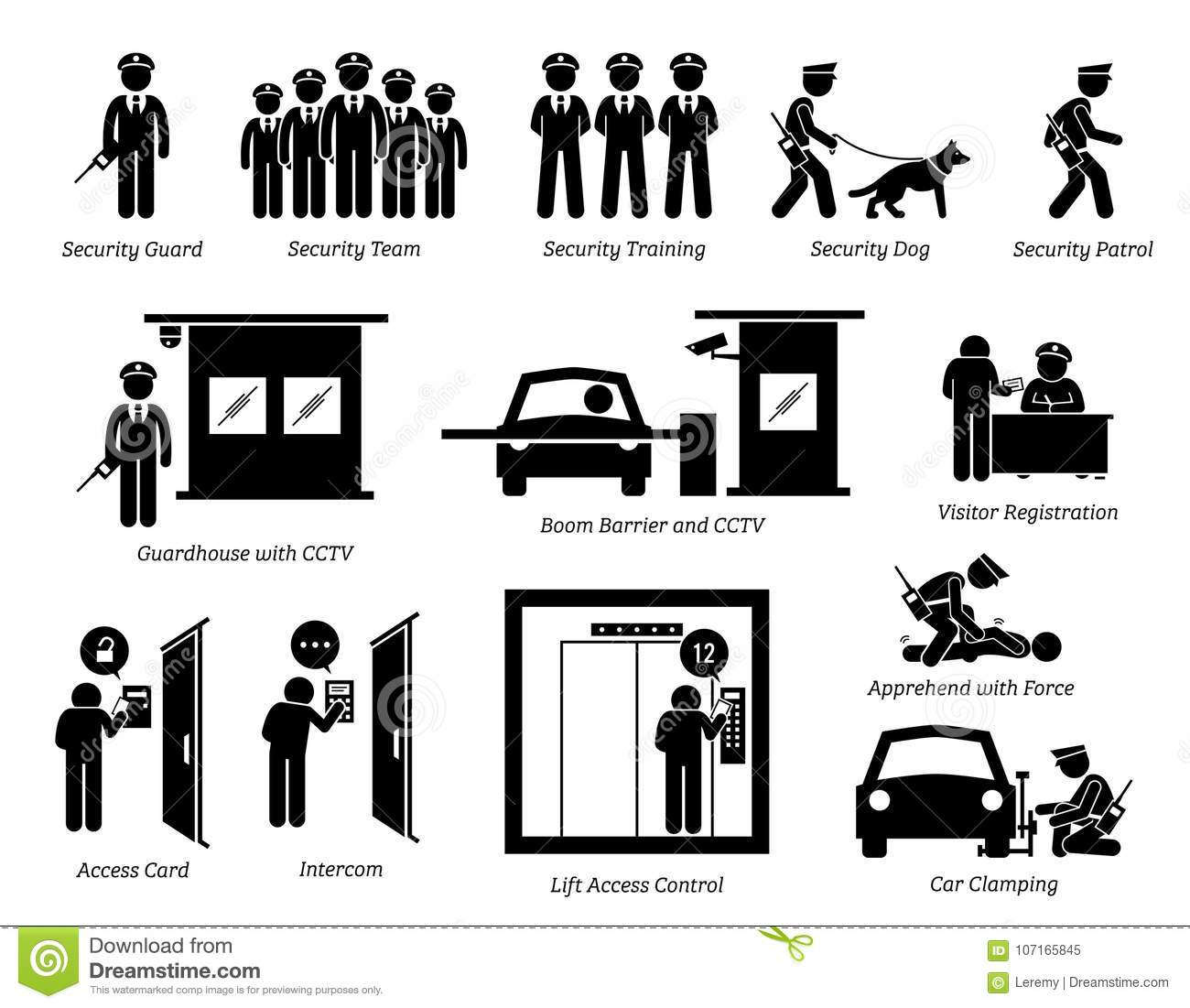 Security Guards Icons Stock Vector Illustration Of Icons
