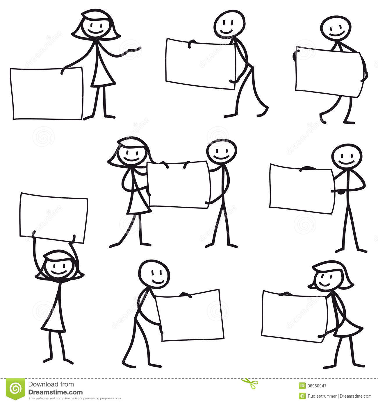 Stick Man Stick Figure Holding Blank Sign Stock Vector