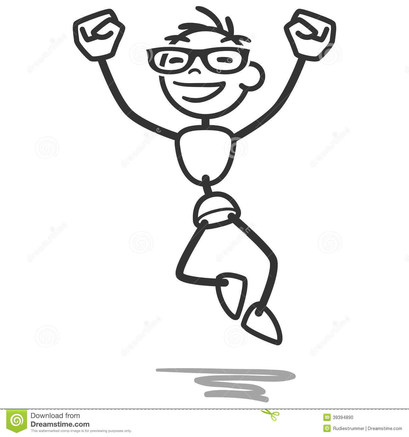 Stick Man Stick Figure Jumping Happy Successful Stock
