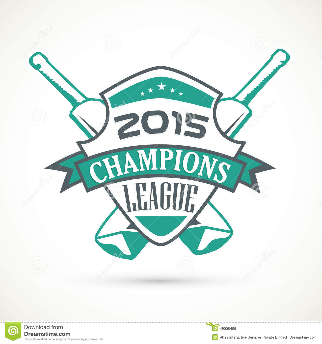 Sticker Tag Or Label Design For Cricket Champions League Stock Illustration